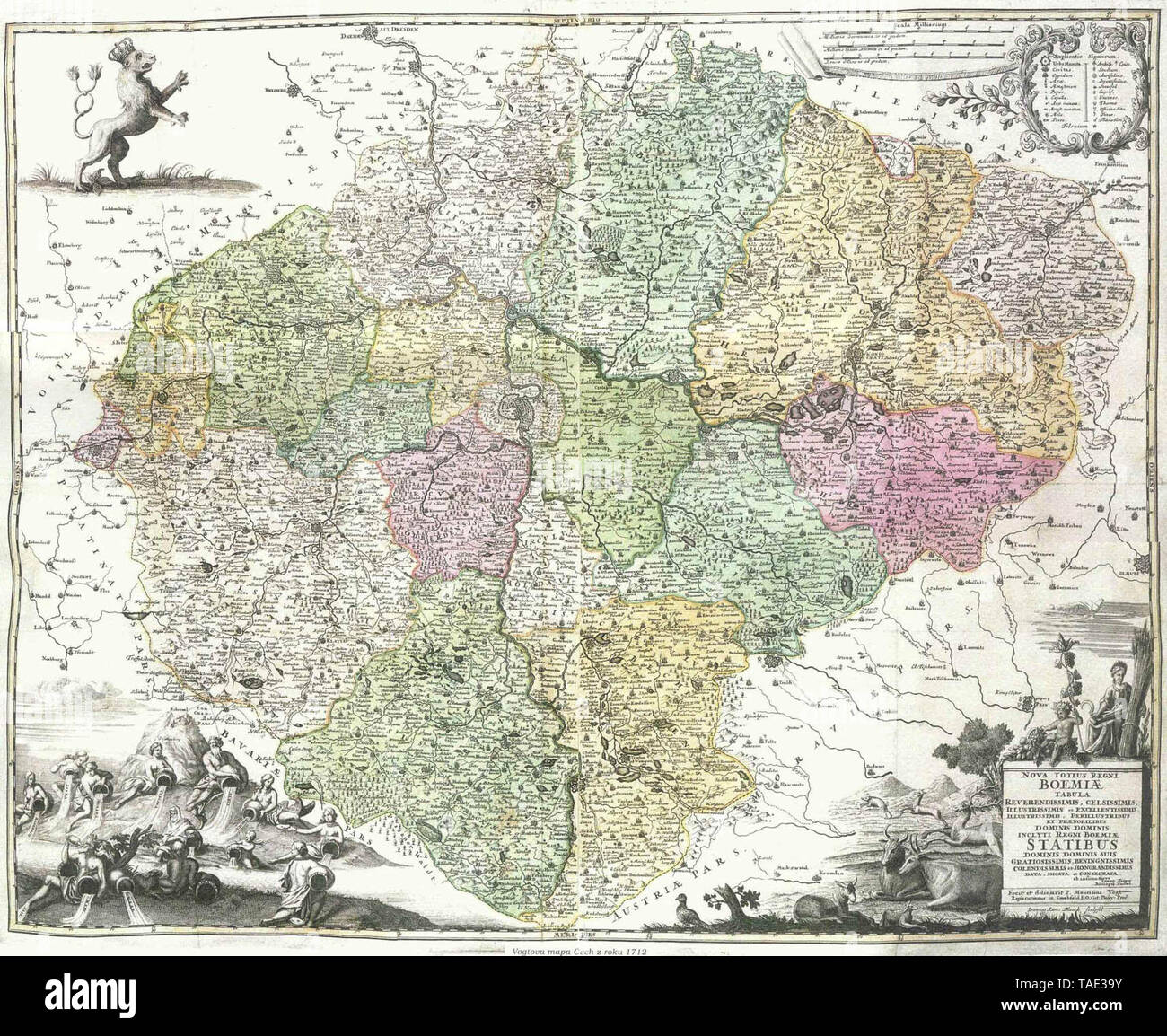 Administrative division of Bohemia in 1712 - Stock Image