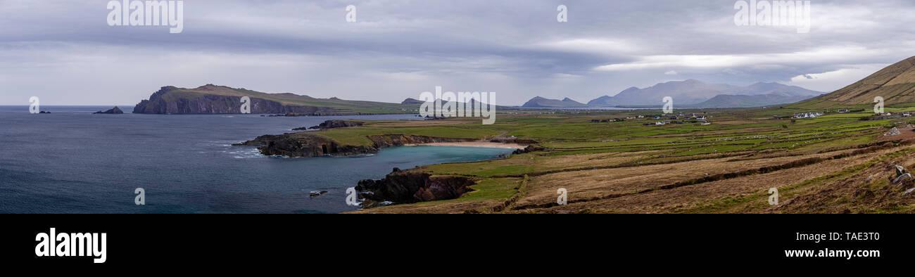 Panorama of the Dingle Peninsula on the west coast of Ireland, part of the Wild Atlantic Way - Stock Image