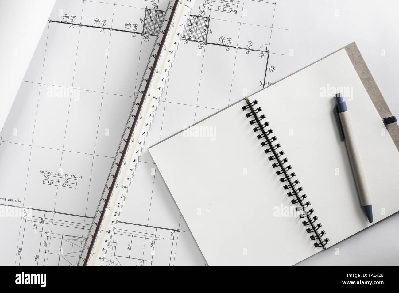 Construction design work of engineer concept - Stock Image