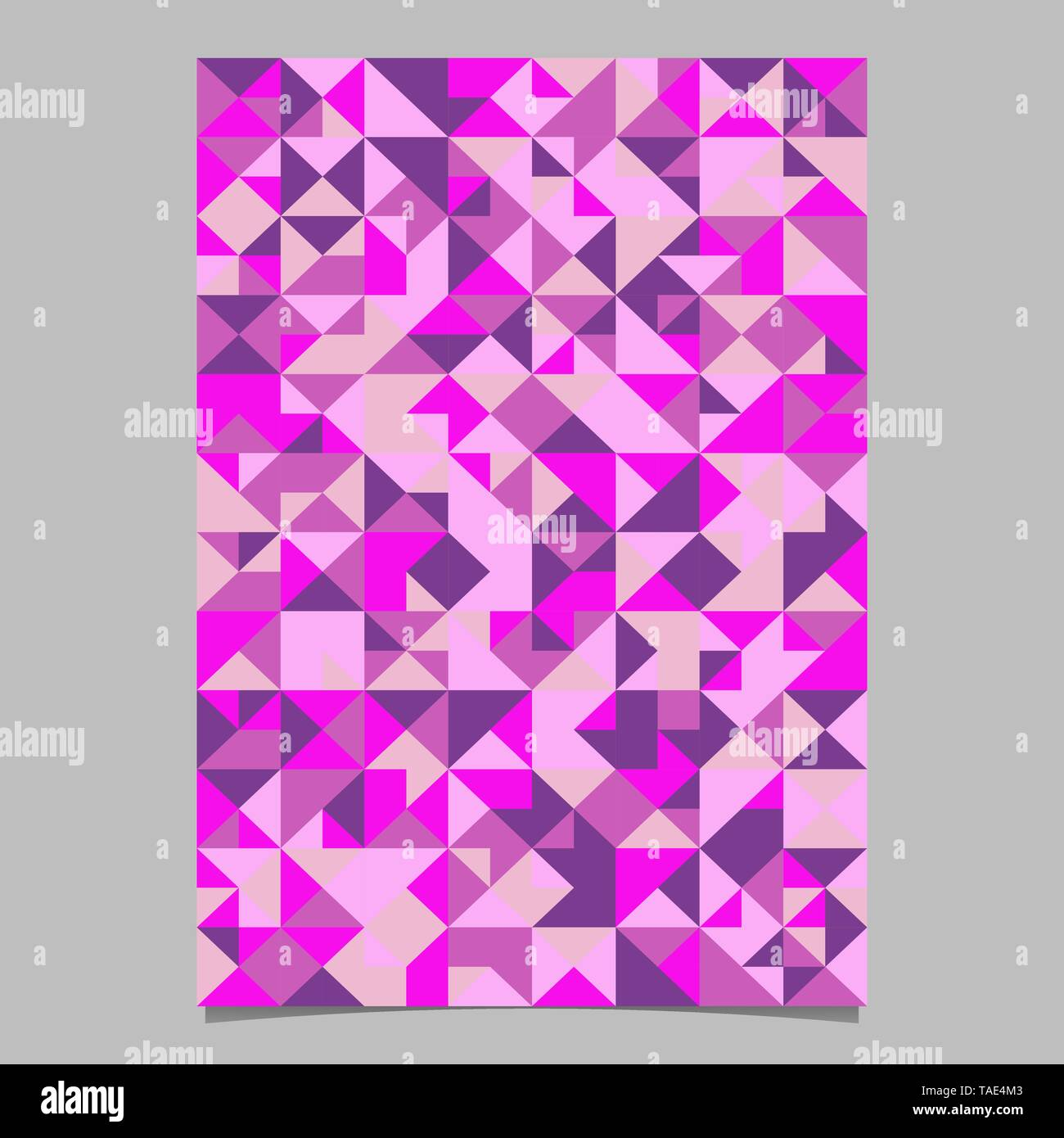 Polygonal colorful abstract geometrical triangle tile poster template - Stock Image