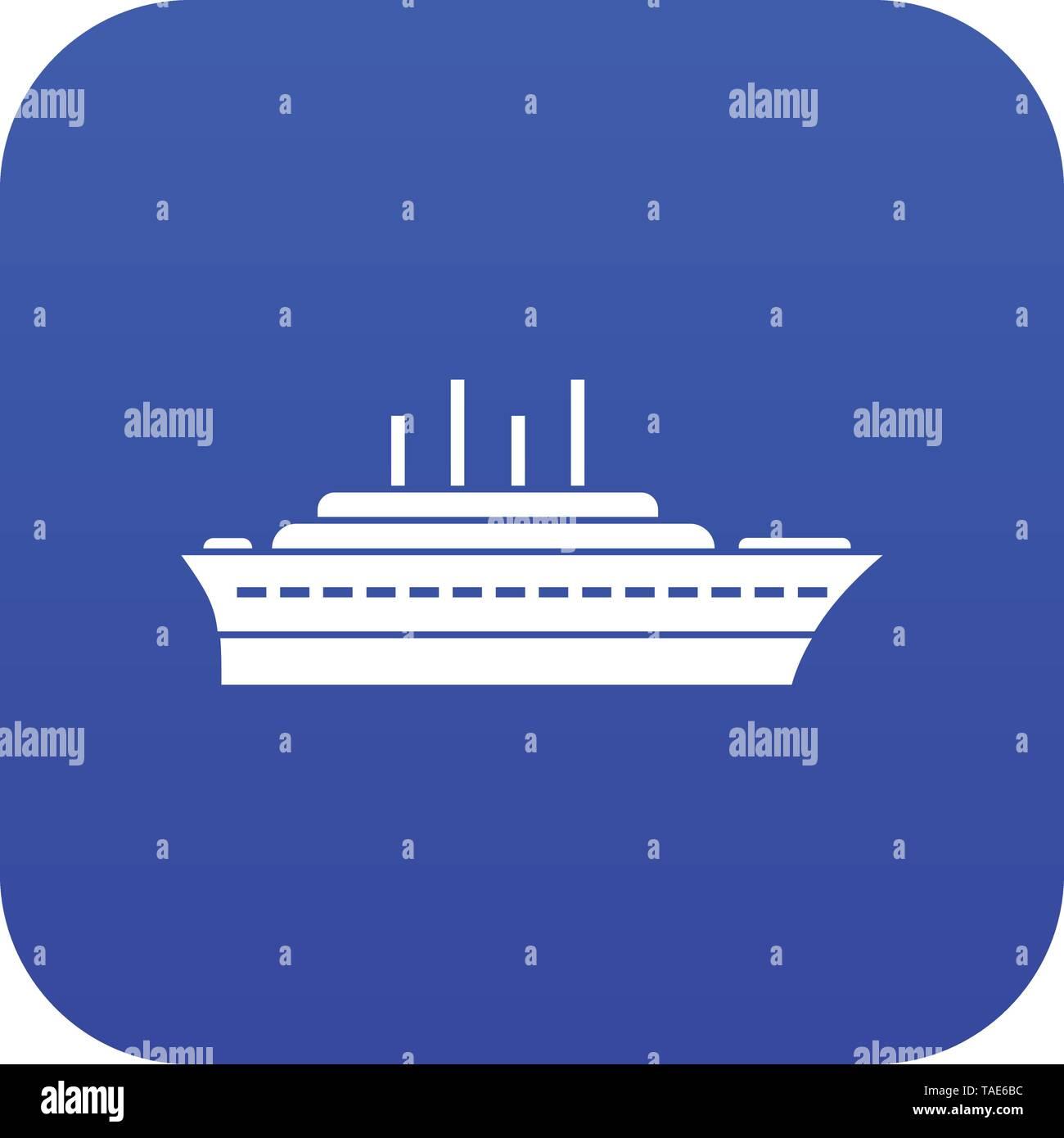 Ship icon digital blue - Stock Image