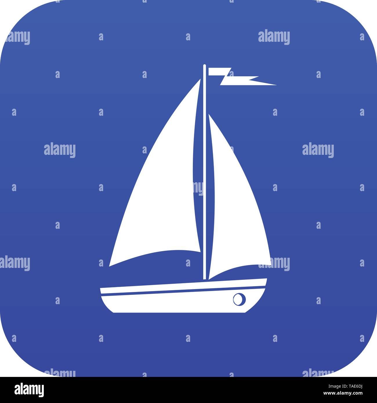 Boat icon digital blue - Stock Image