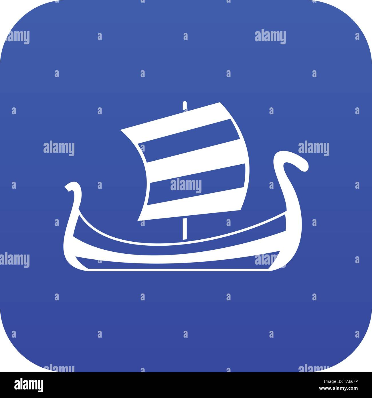 Medieval boat icon digital blue - Stock Image