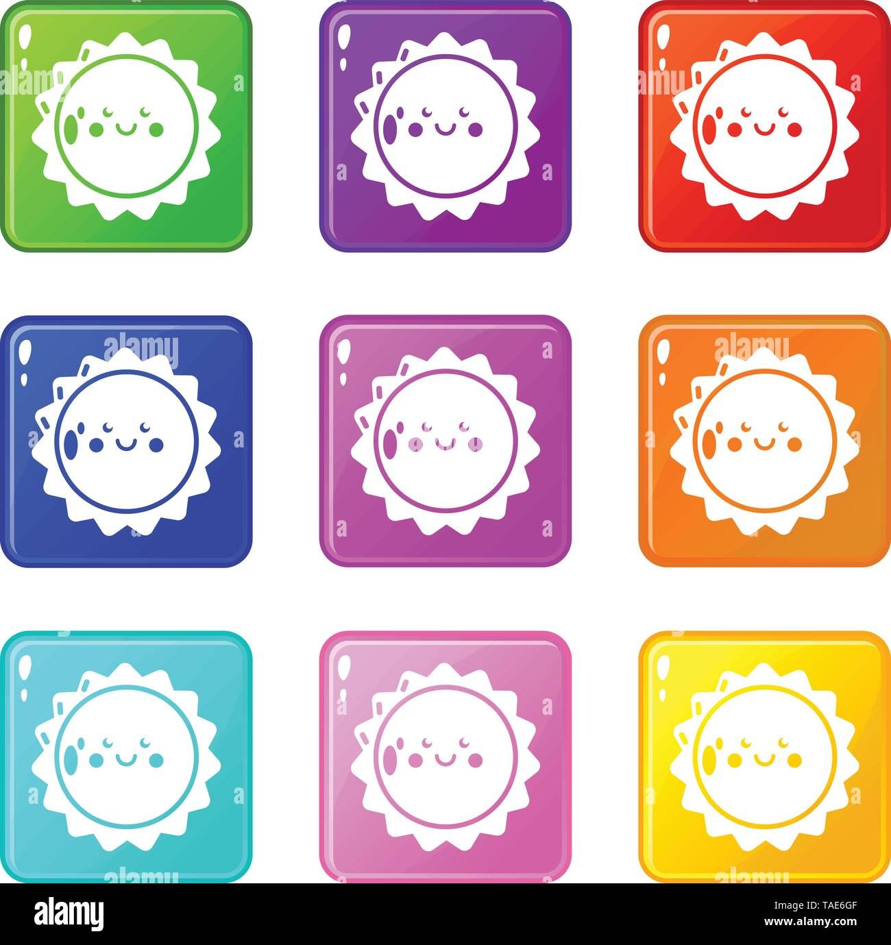 Sun icons set 9 color collection - Stock Image
