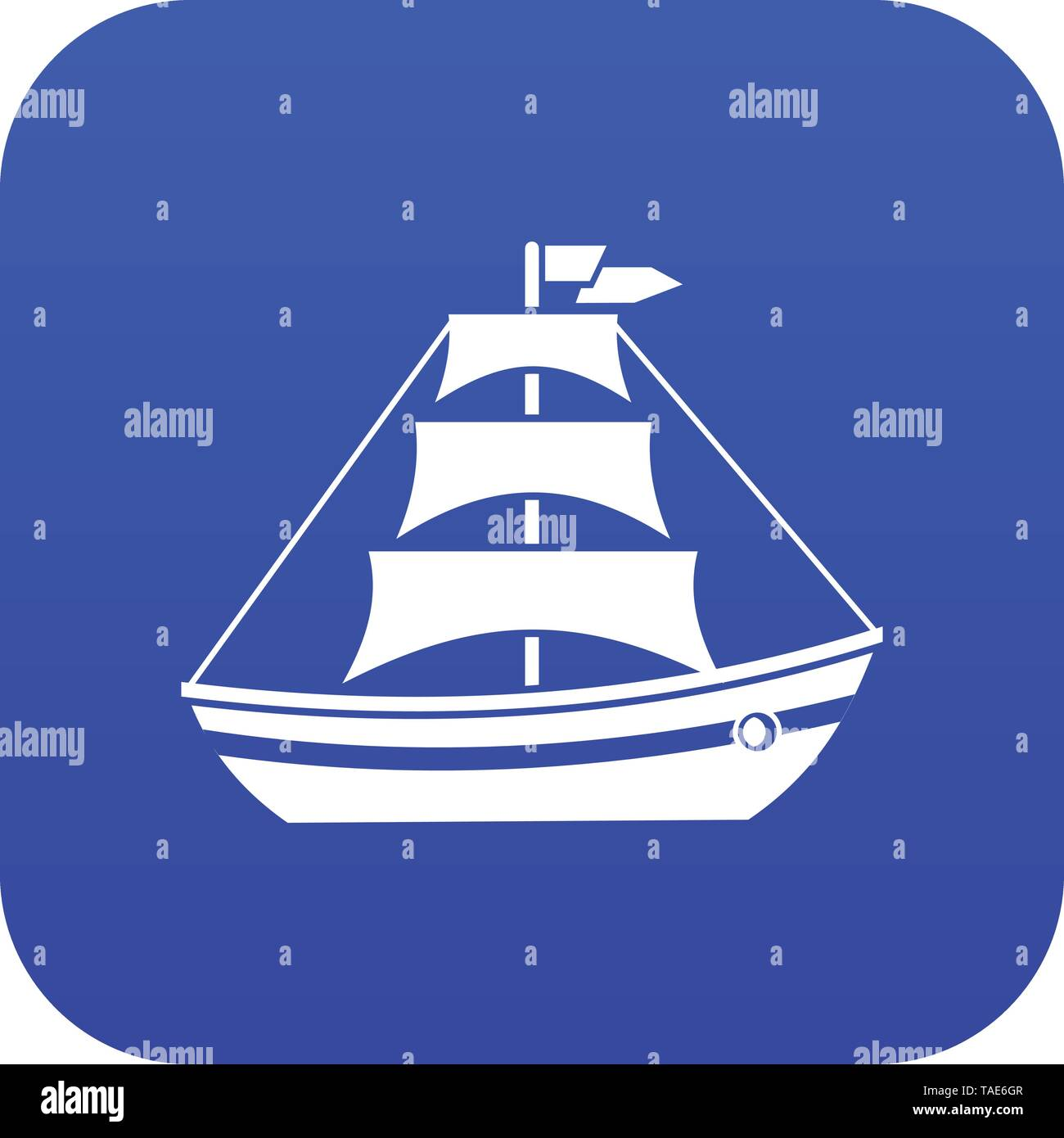 Boat with sails icon digital blue - Stock Image