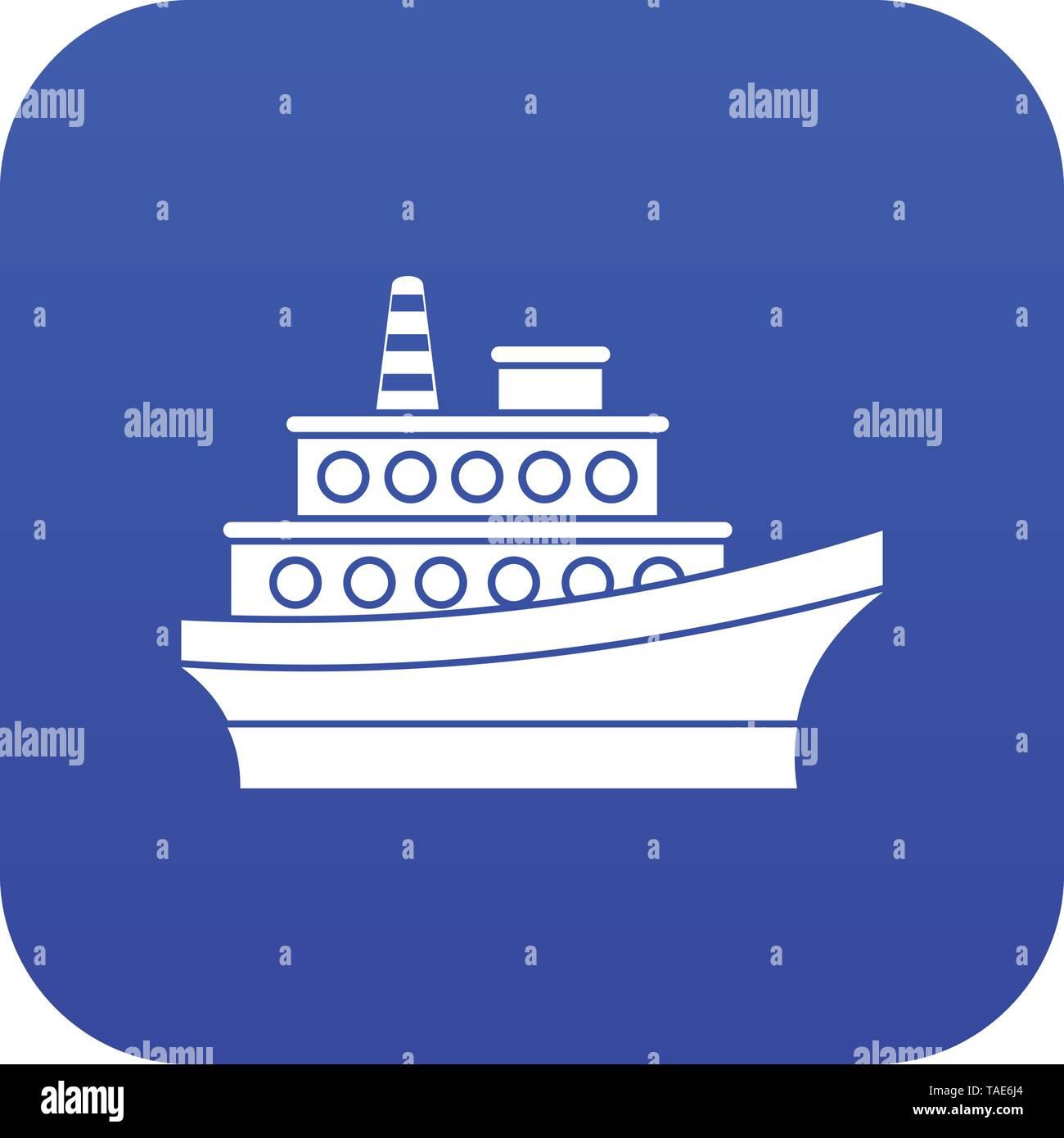 Big ship icon digital blue - Stock Image