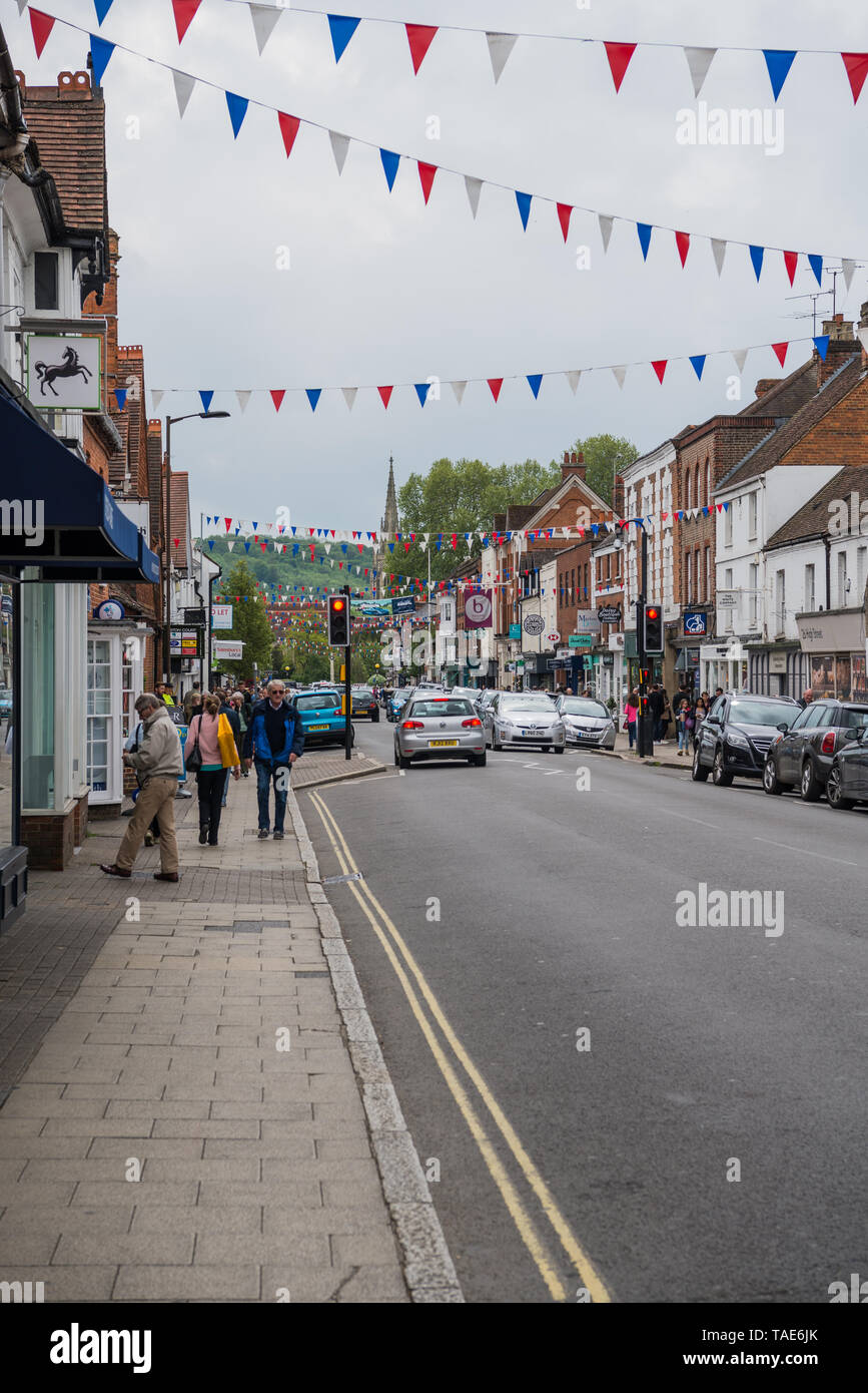 View of Marlow High street towards the bridge. Stock Photo
