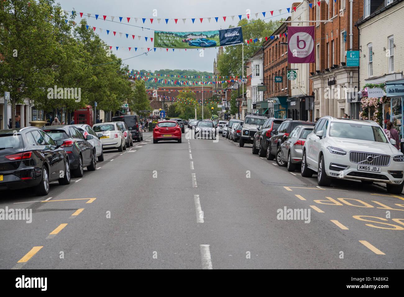 View of Marlow High street towards the bridge. Stock Photo