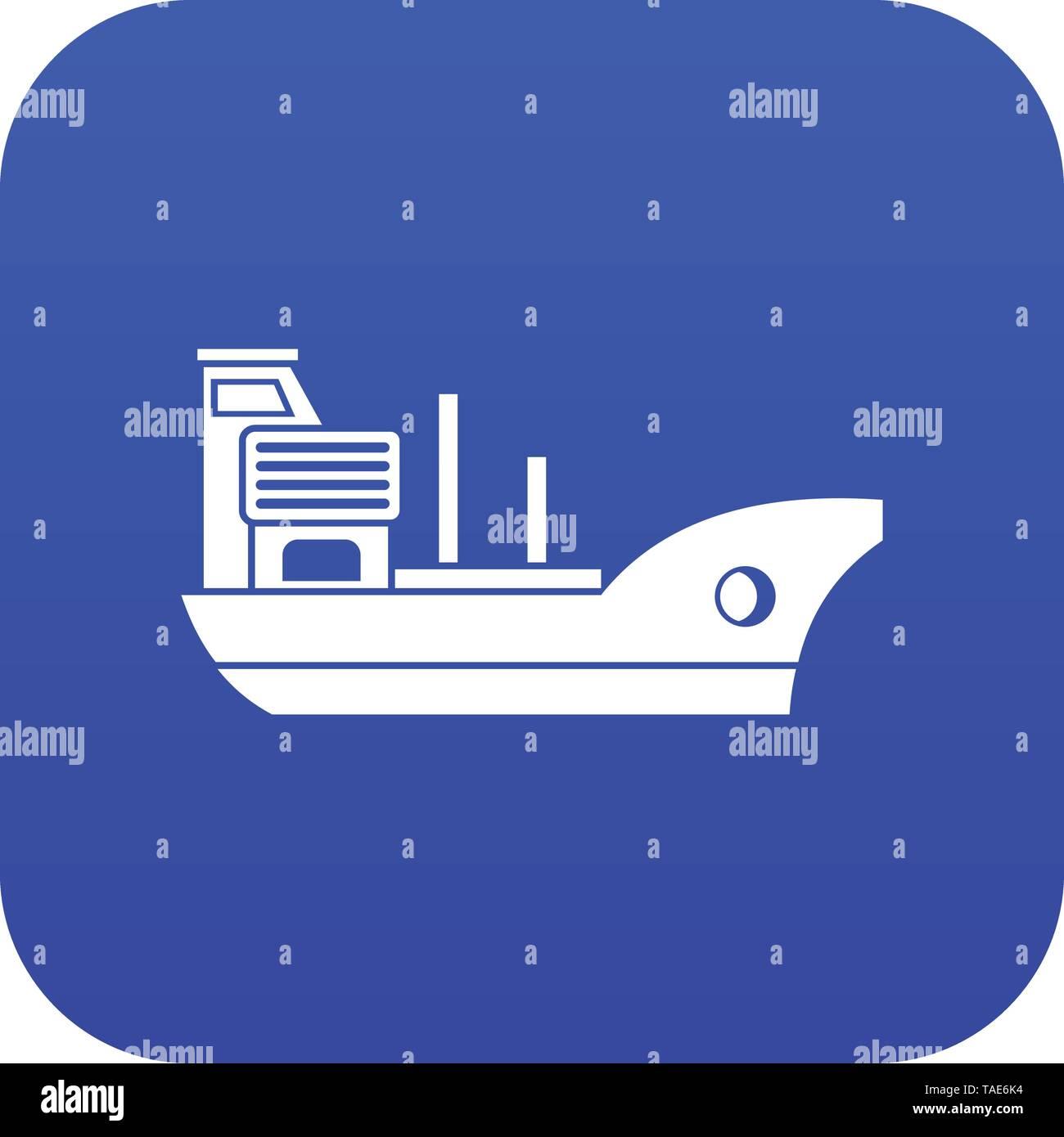 Marine ship icon digital blue - Stock Image
