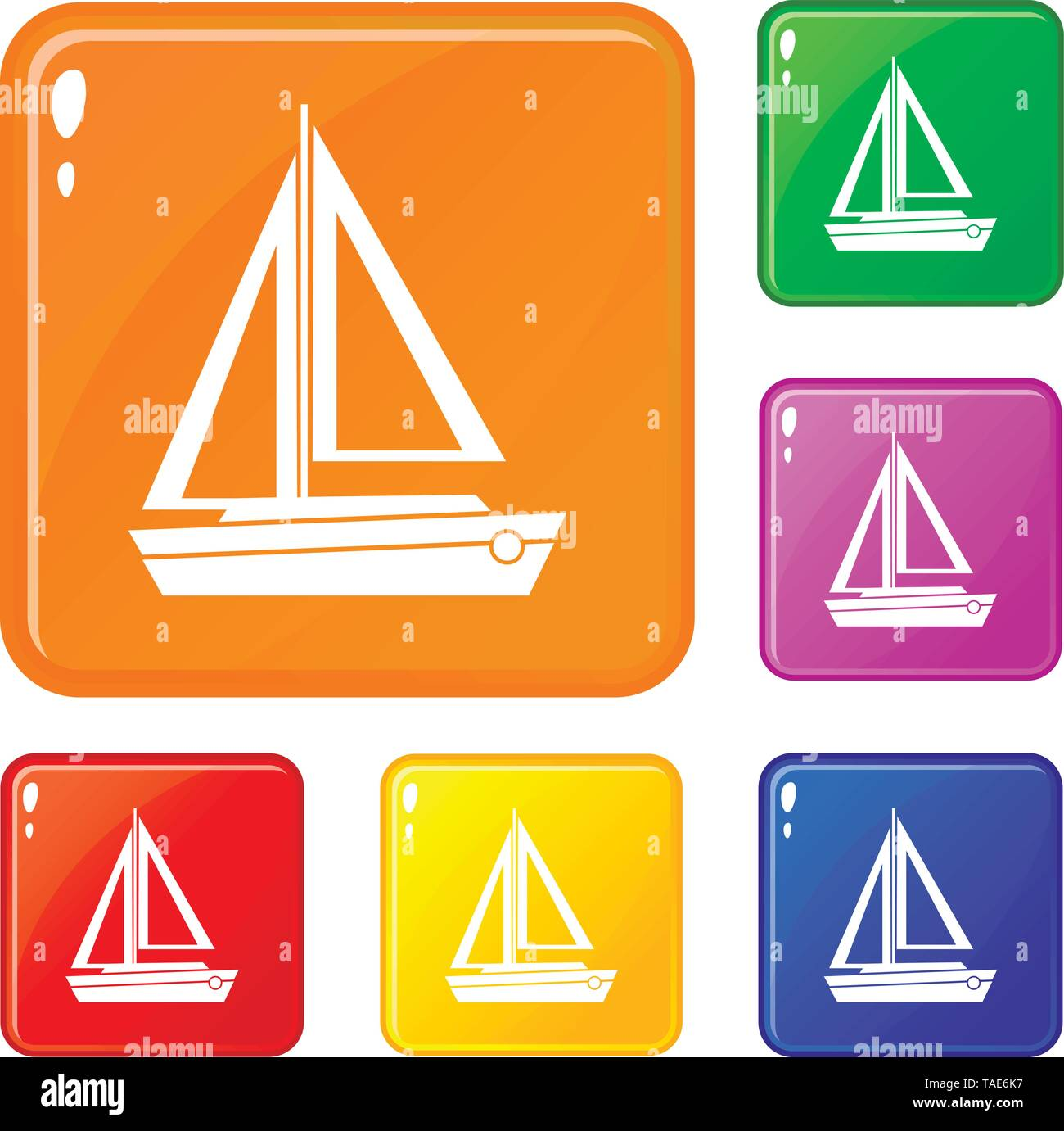 Small boat icons set vector color - Stock Image