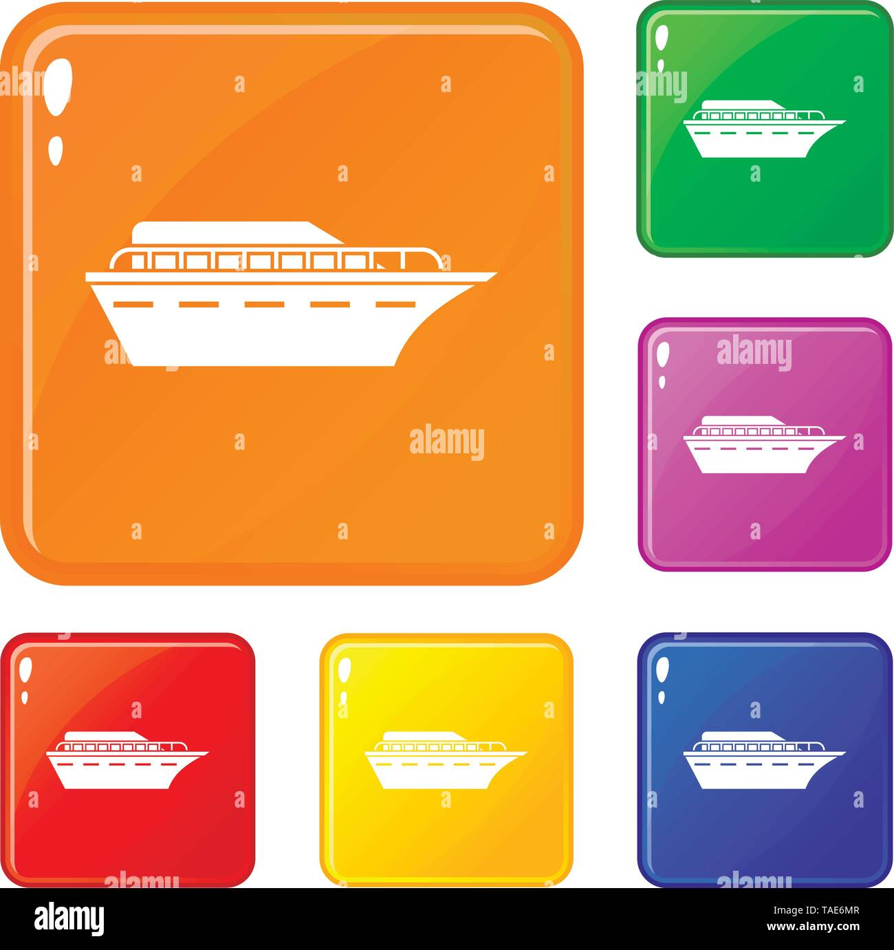 Powerboat icons set vector color - Stock Image