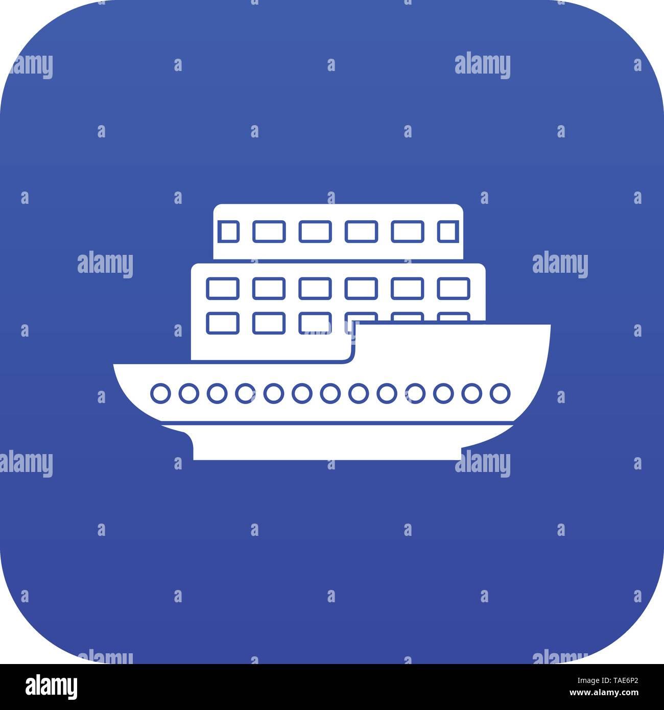 Large passenger ship icon digital blue - Stock Image