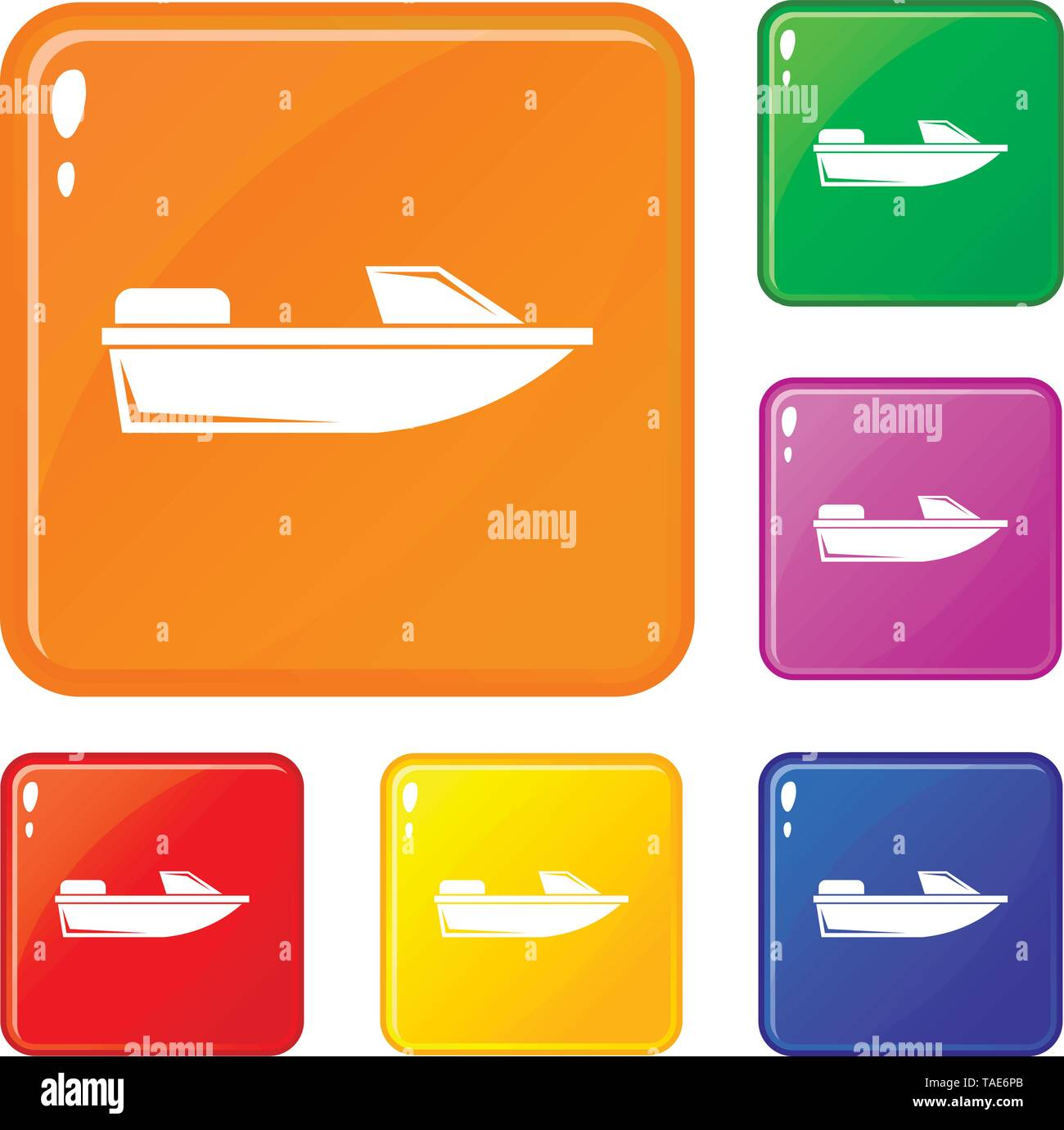 Sports powerboat icons set vector color - Stock Image