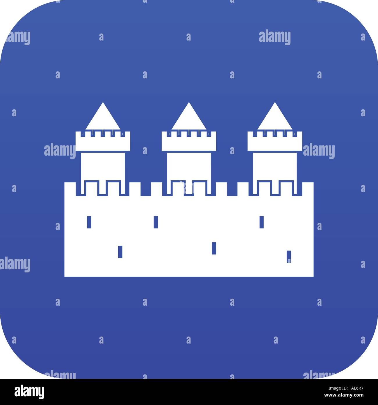 Medieval wall and towers icon digital blue - Stock Image