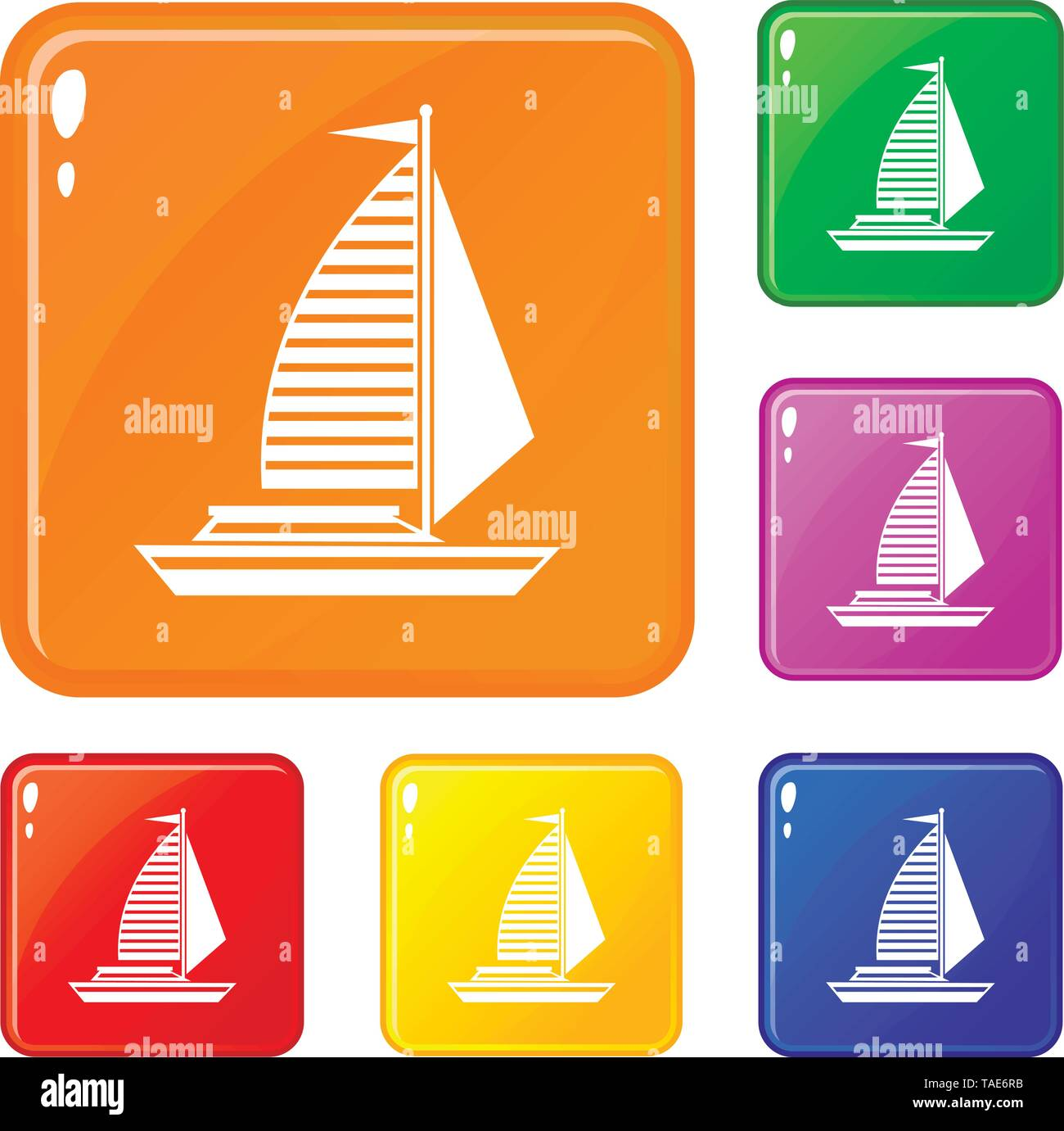 Yacht with sails icons set vector color - Stock Image