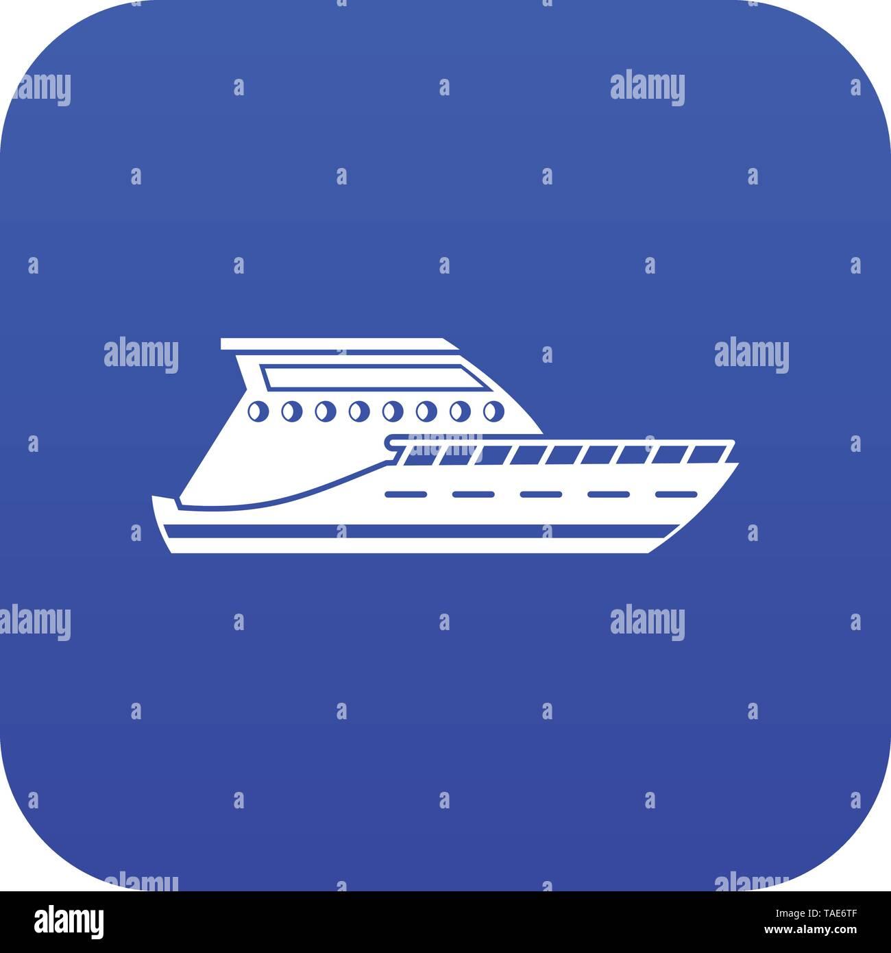 Yacht icon digital blue - Stock Image