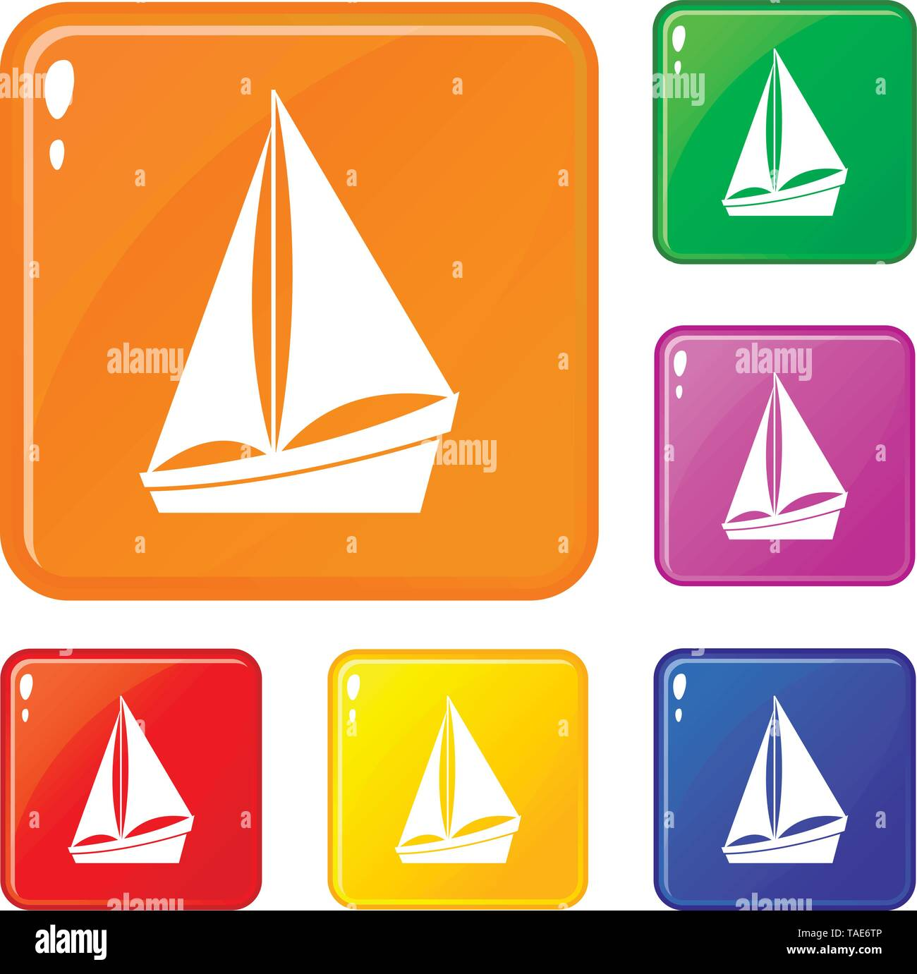 Small yacht icons set vector color - Stock Image