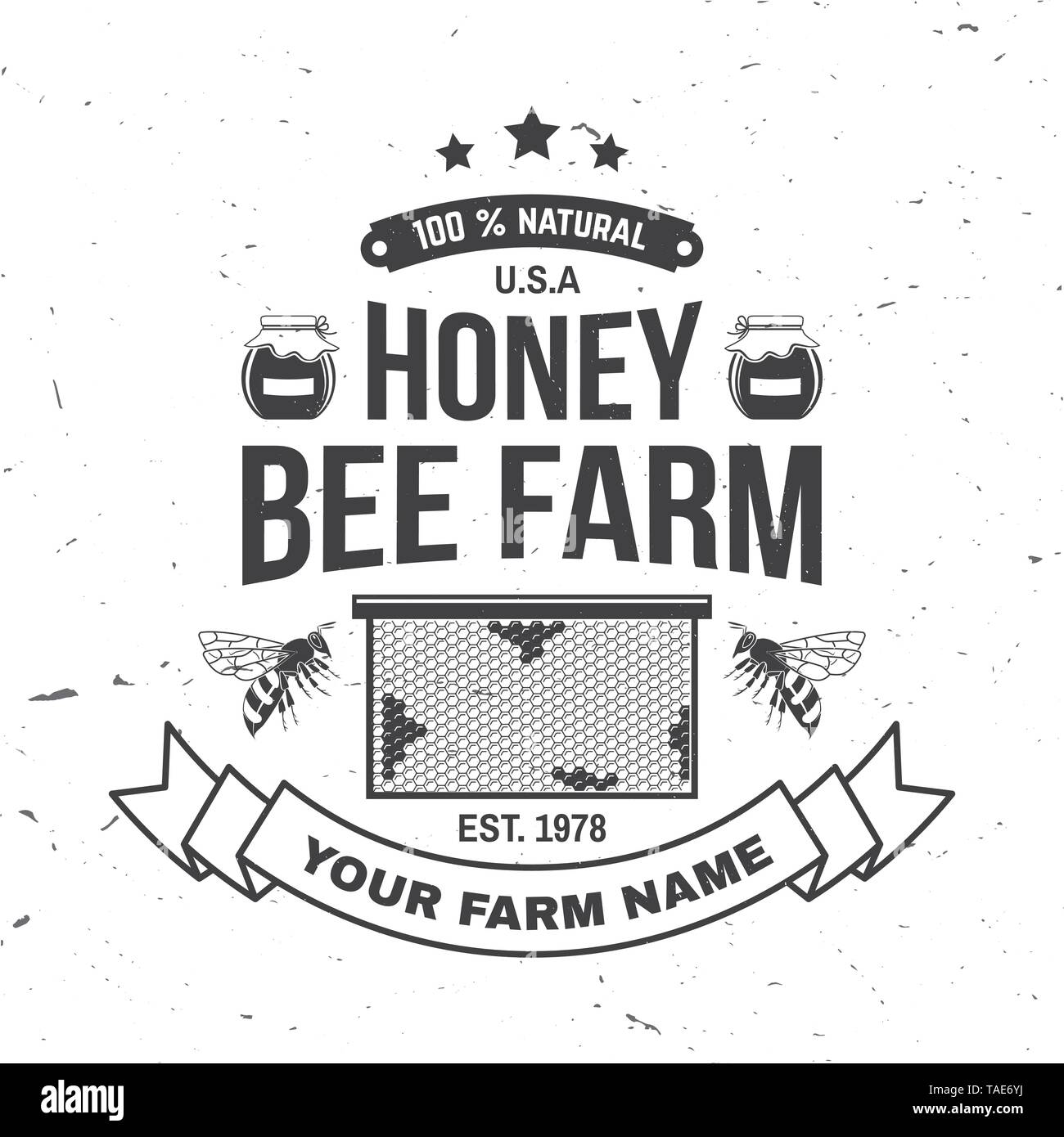 Honey farm badge. Vector illustration. Concept for shirt, print, stamp or tee. Vintage typography design with bee, honeycomb piece silhouette. Retro design for honey bee farm business - Stock Image