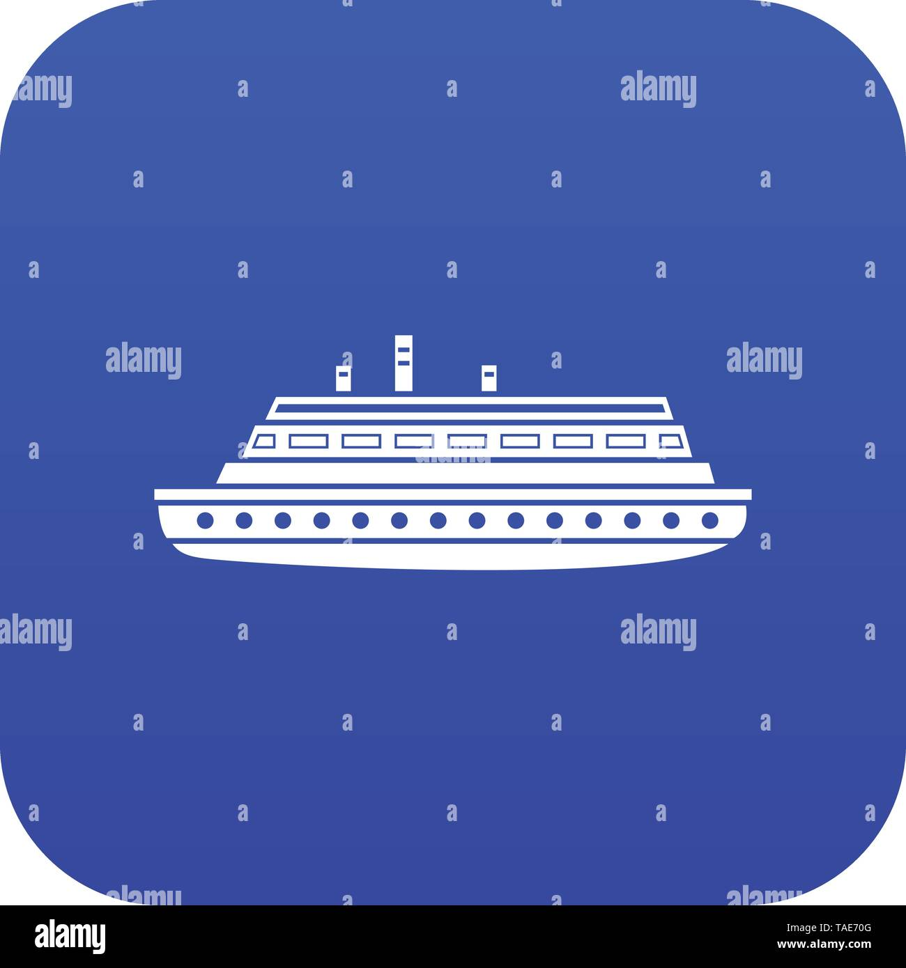 Long ship icon digital blue - Stock Image