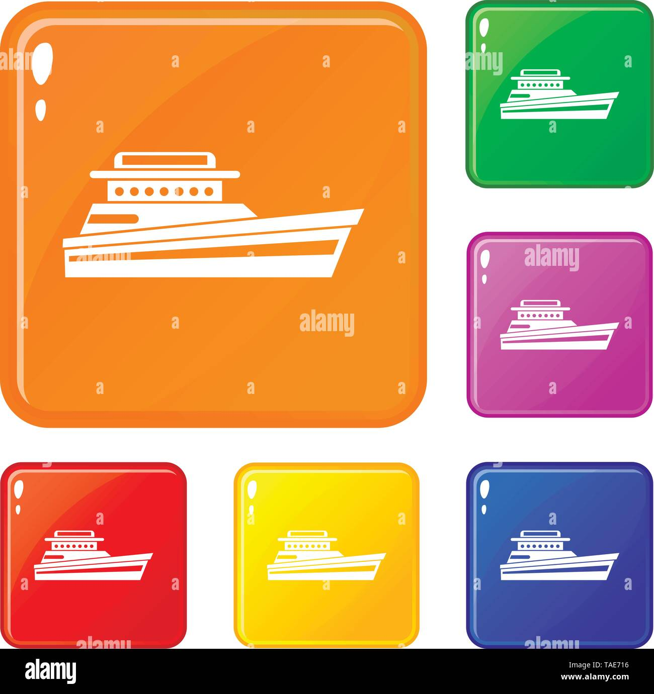 Great powerboat icons set vector color - Stock Image