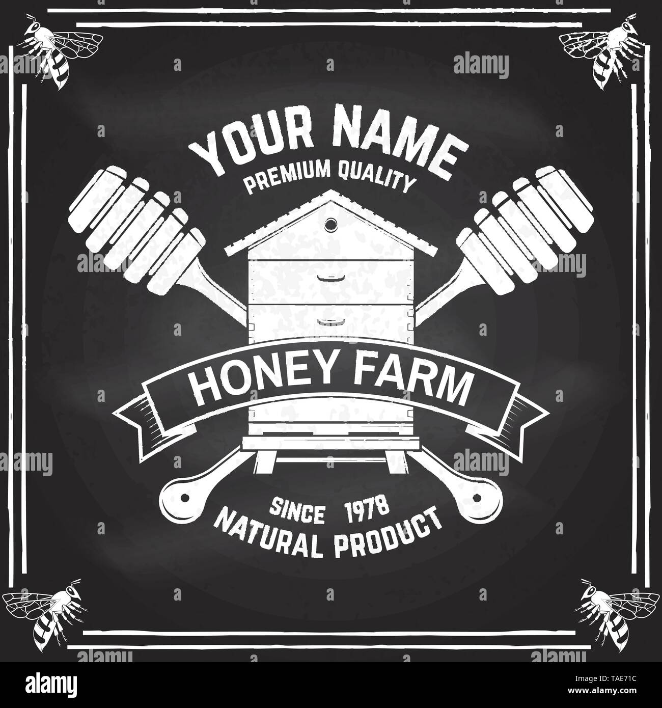 Honey farm badge. Vector on the chalkboard. Concept for shirt, print, stamp or tee. Vintage typography design with hive and honey dipper silhouette. Retro design for honey bee farm business - Stock Vector