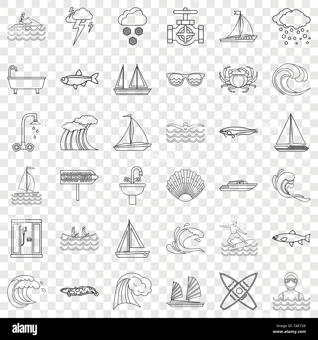 Ocean icons set, outline style - Stock Image