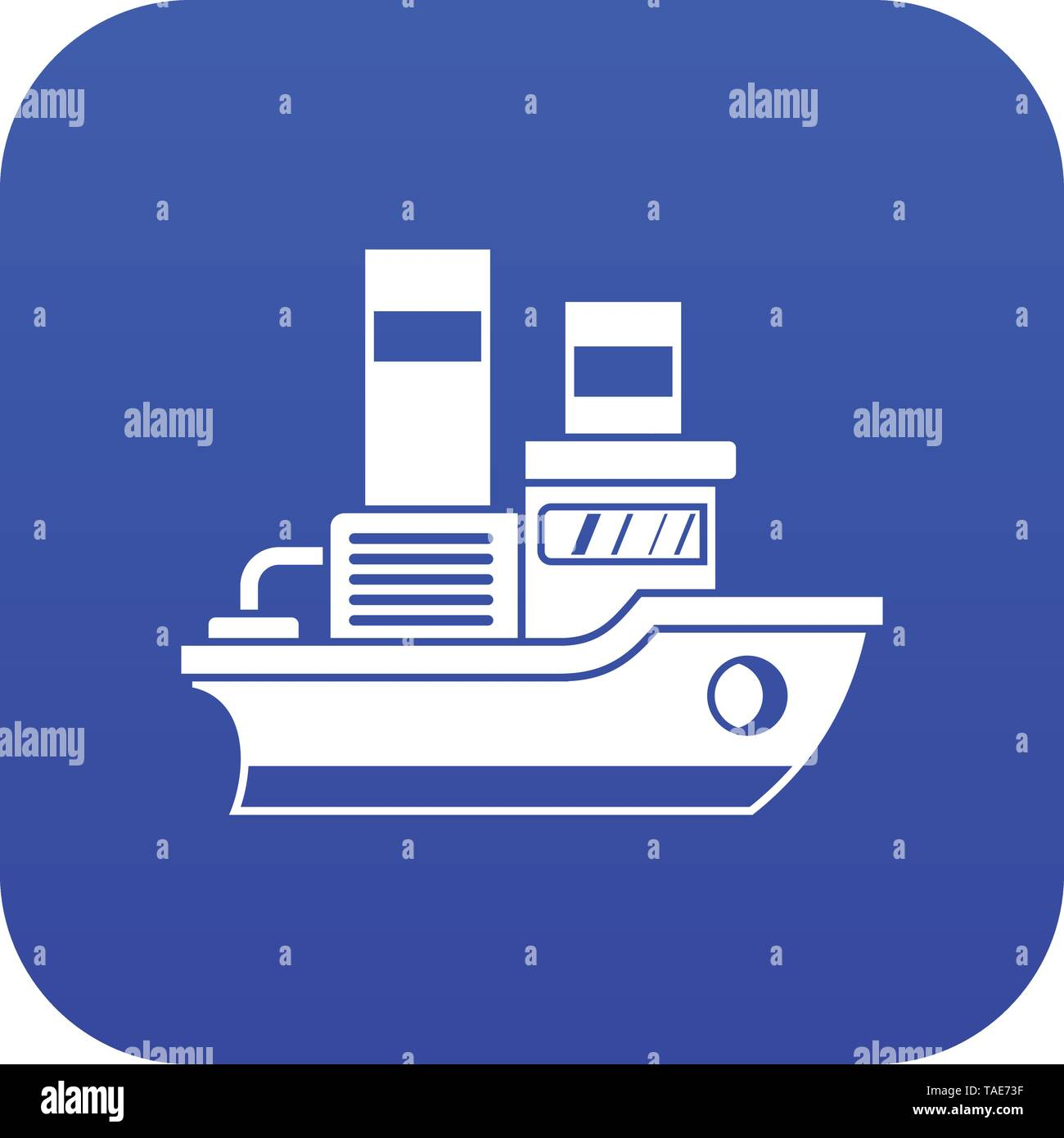 Small ship icon digital blue - Stock Image