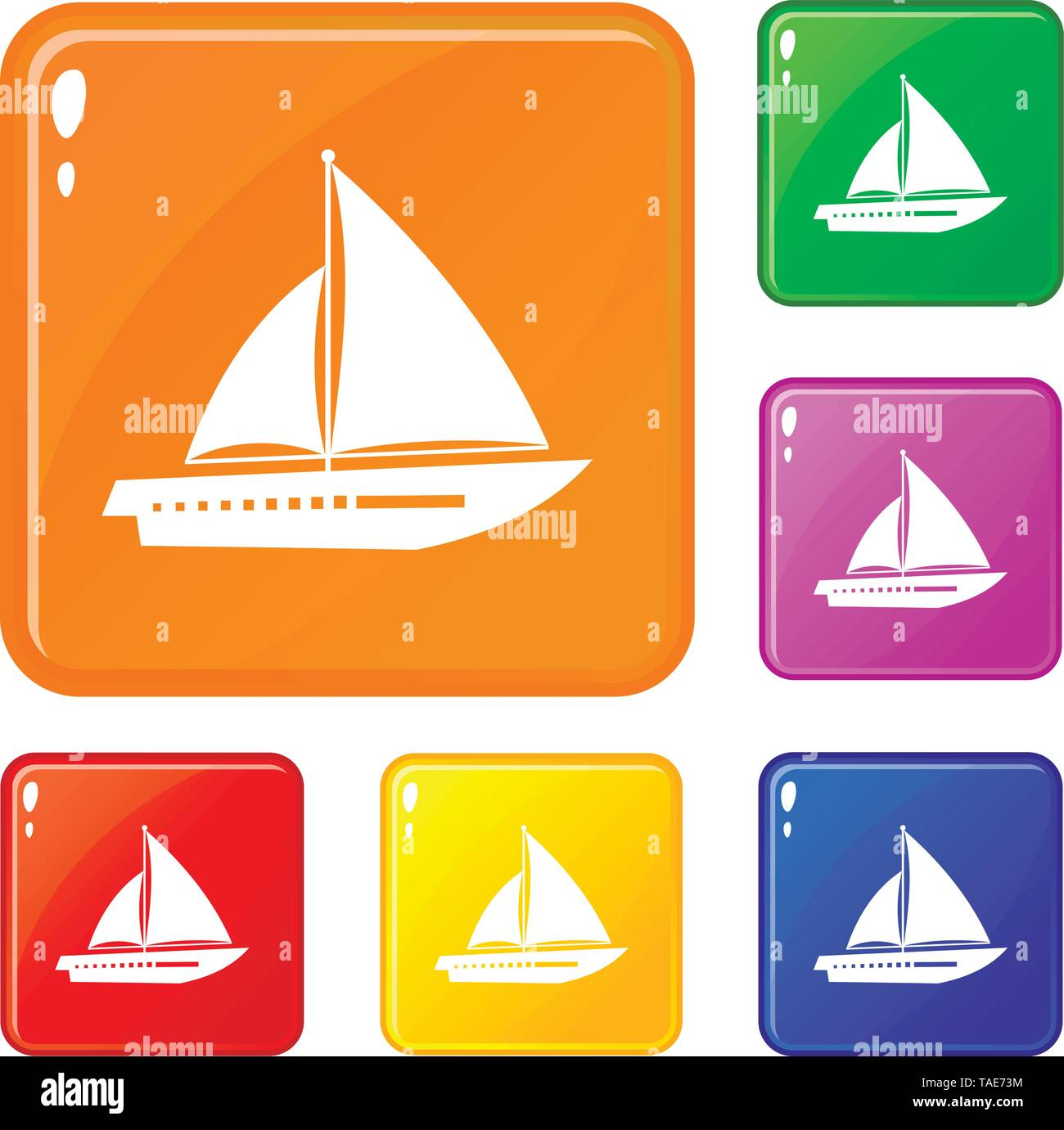 Sailing yacht icons set vector color - Stock Image