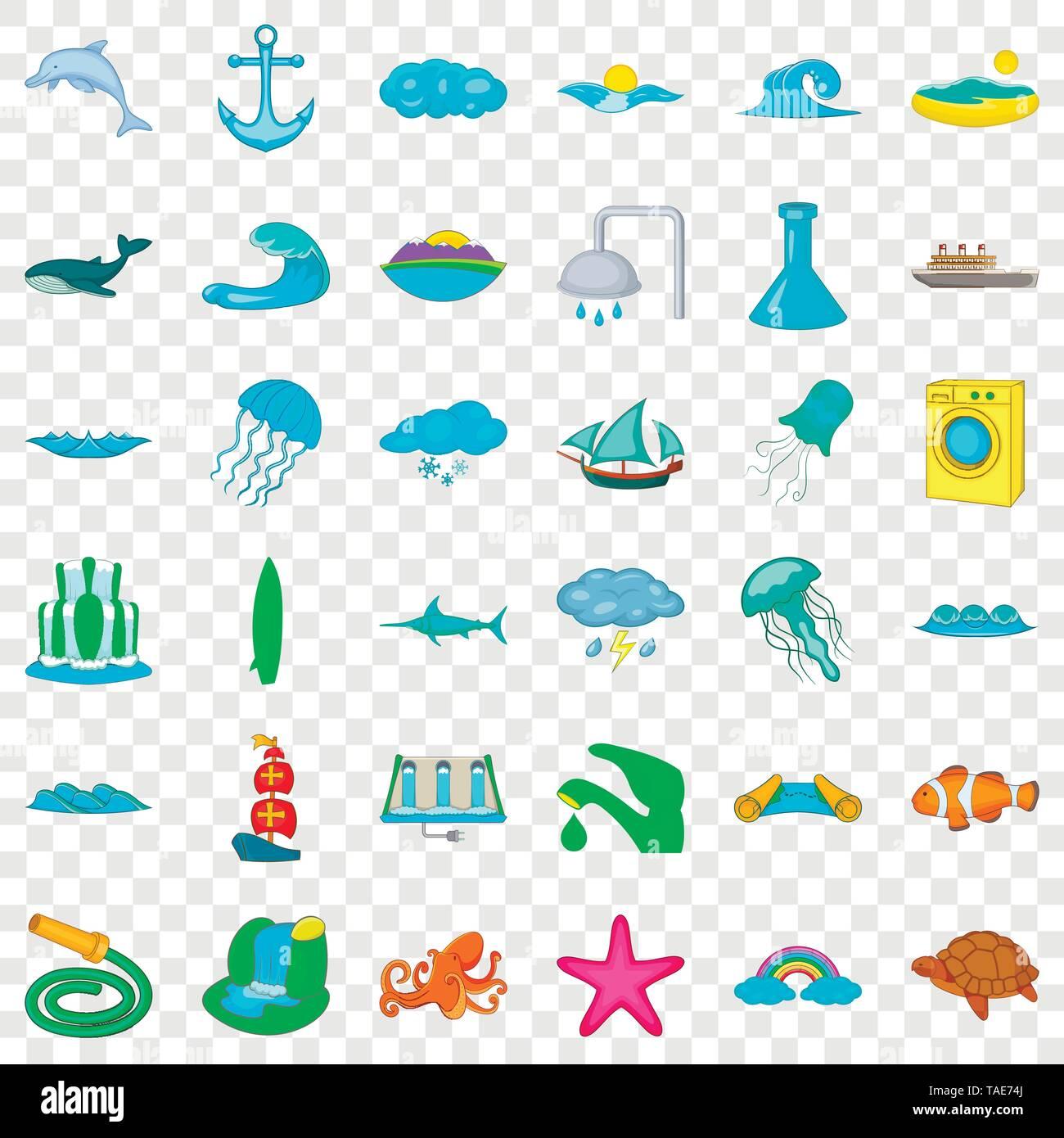 Sea icons set, cartoon style - Stock Image