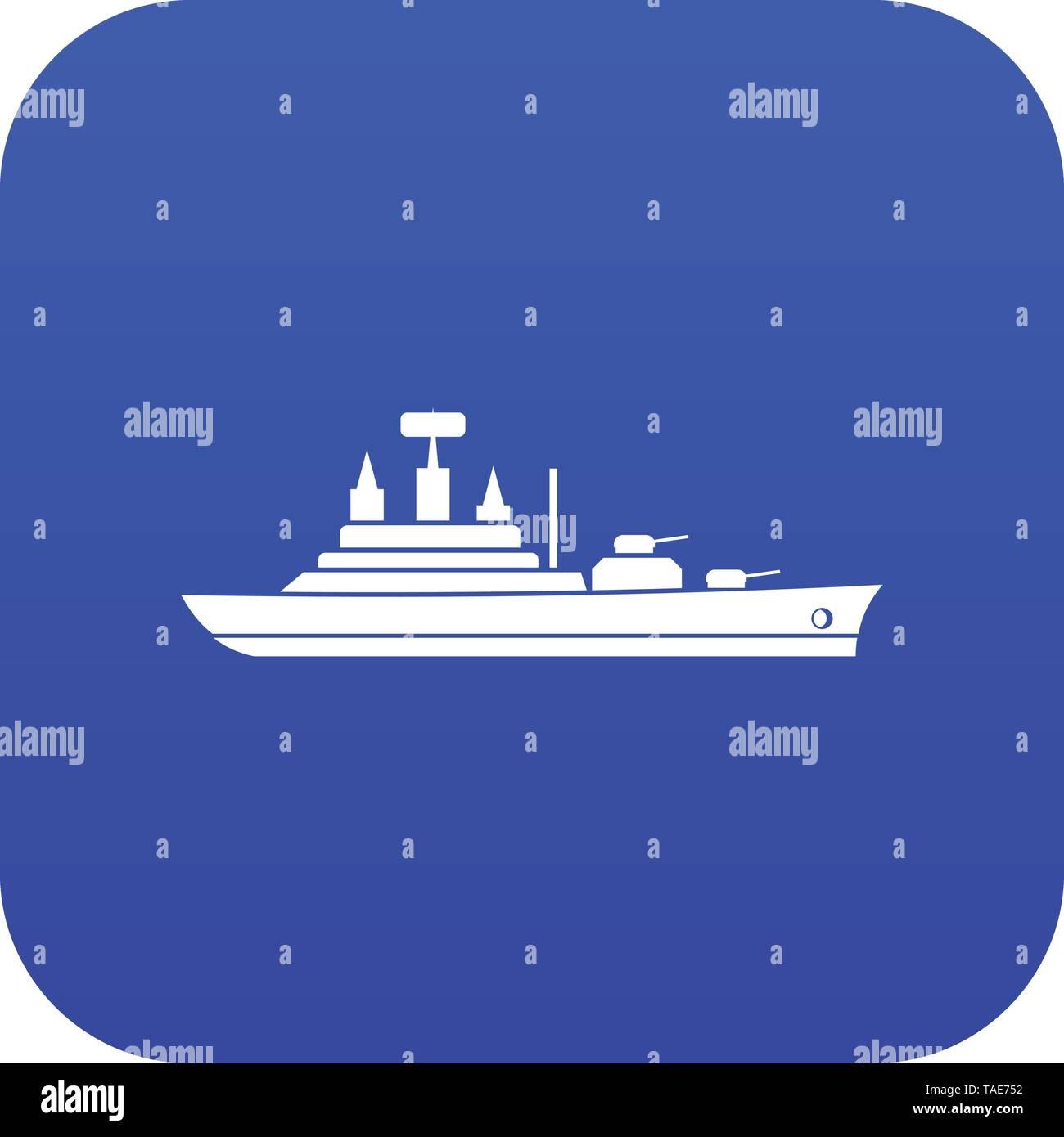Warship icon digital blue - Stock Image