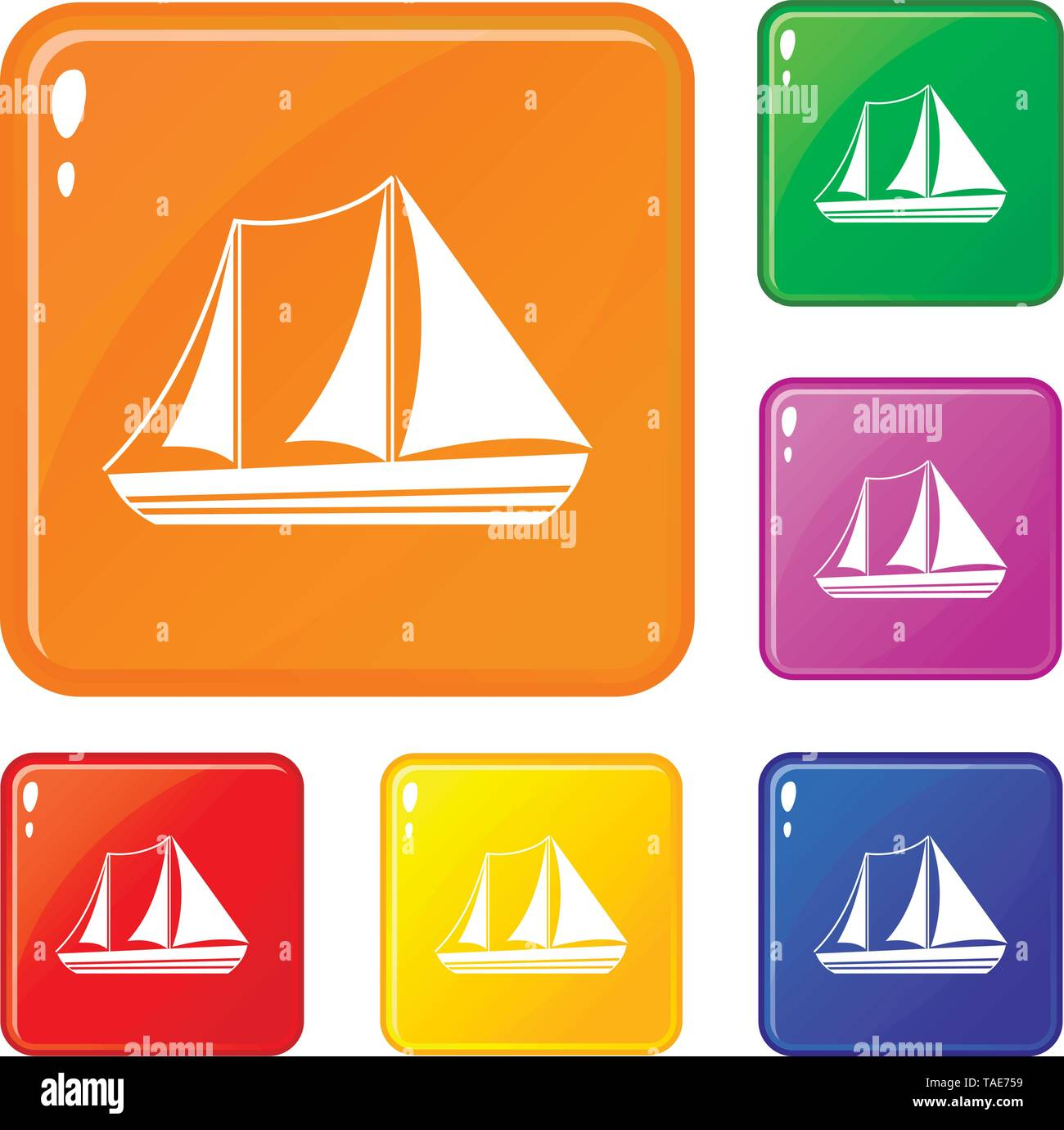 Yacht icons set vector color - Stock Image