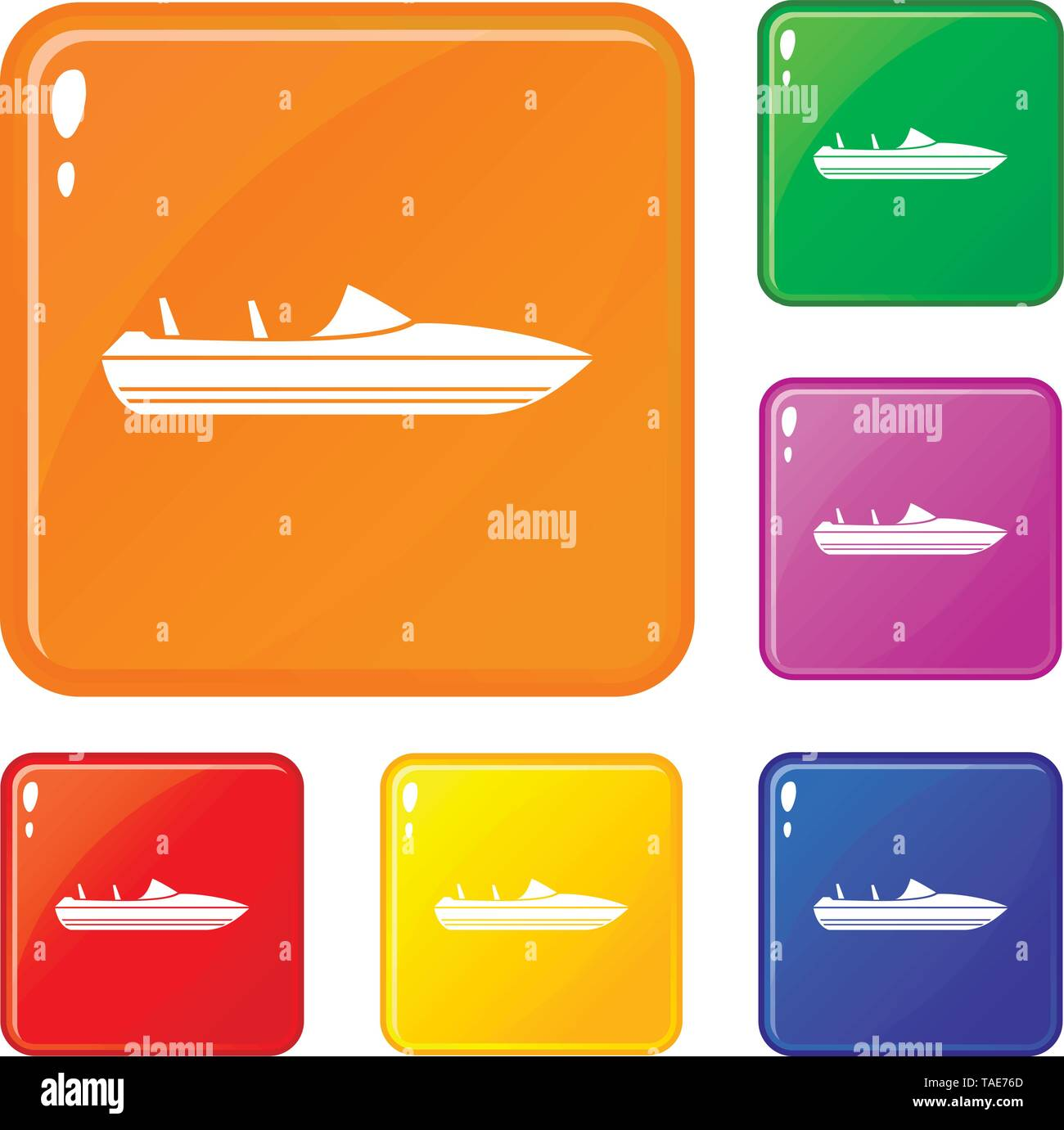 Little powerboat icons set vector color - Stock Image