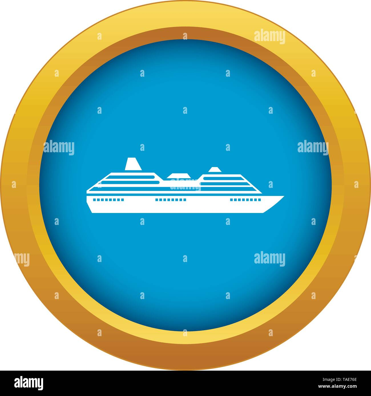 Cruise ship icon blue vector isolated - Stock Image