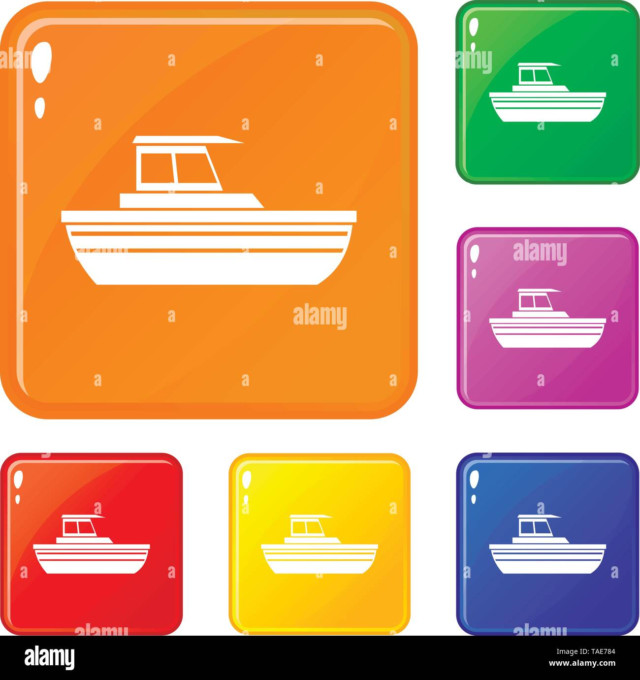 Motor boat icons set vector color - Stock Image