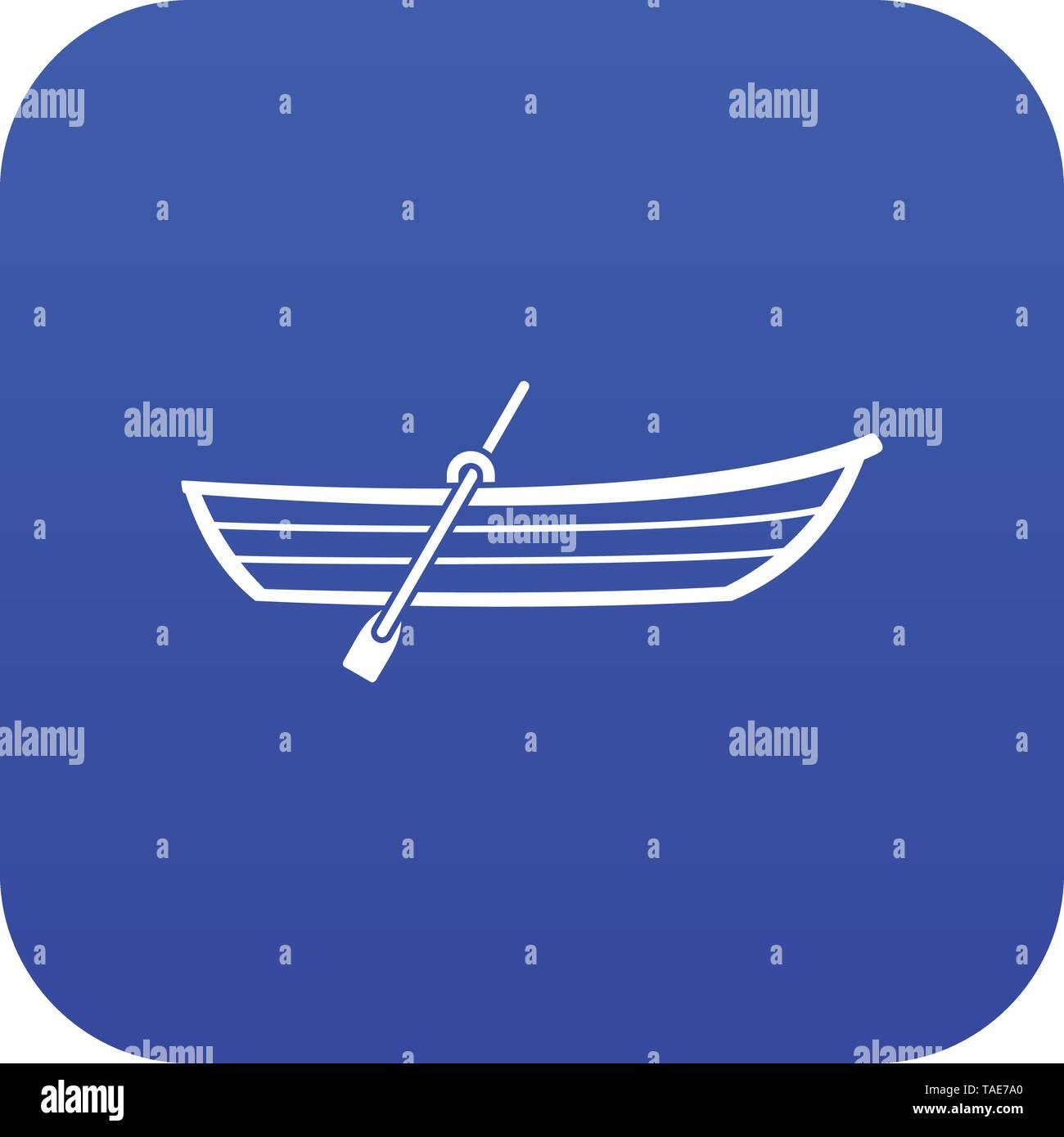 Boat with paddle icon digital blue - Stock Image