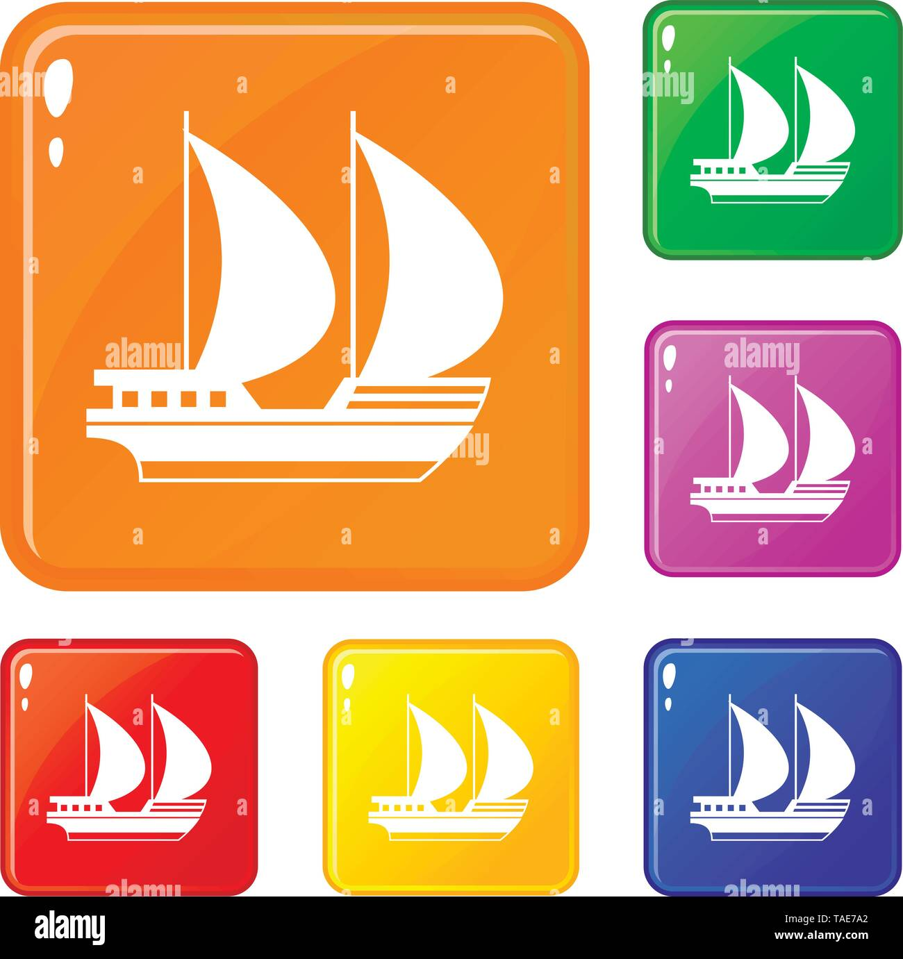 Big yacht icons set vector color - Stock Image