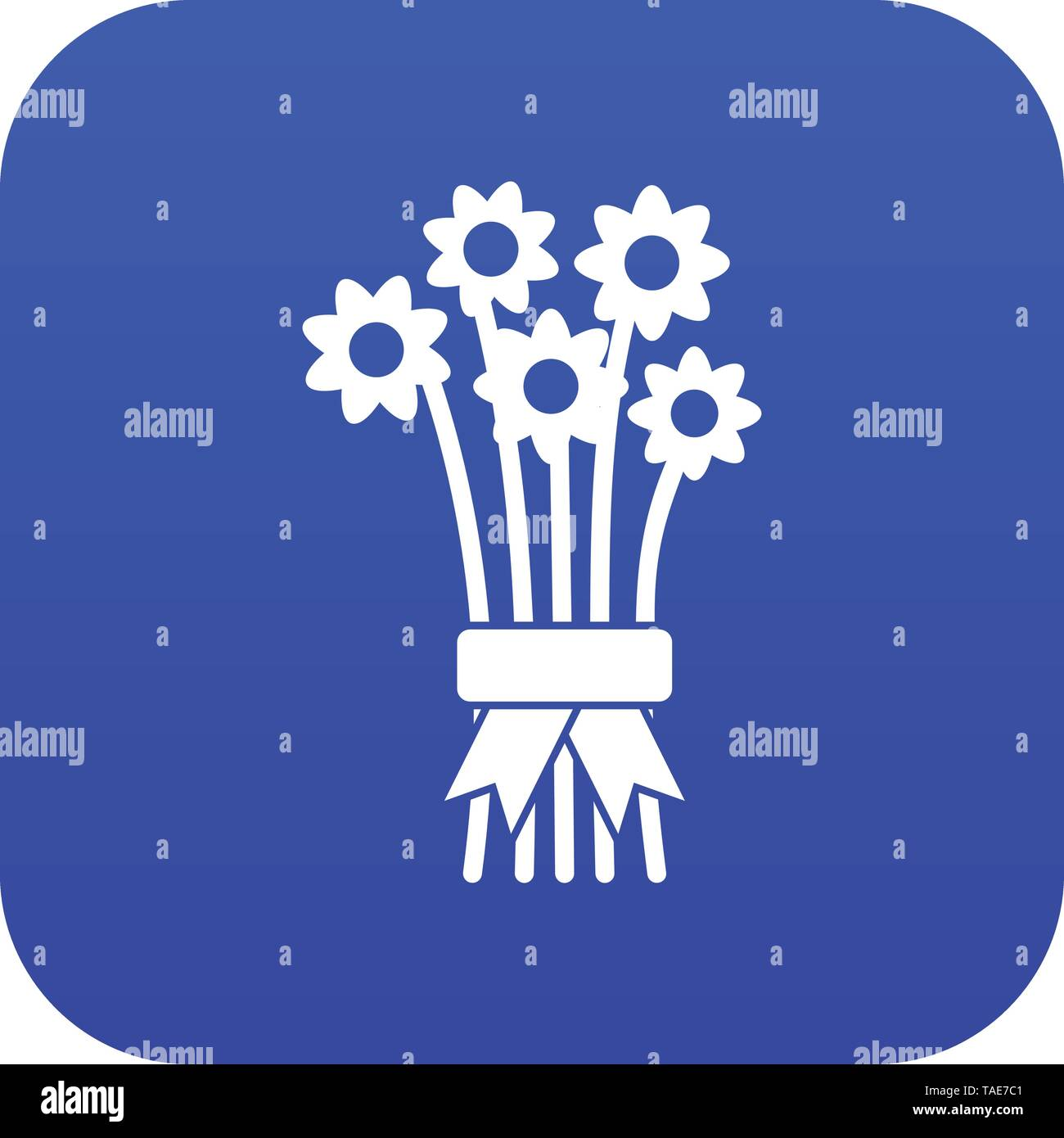 Bouquet of flowers icon digital blue - Stock Image
