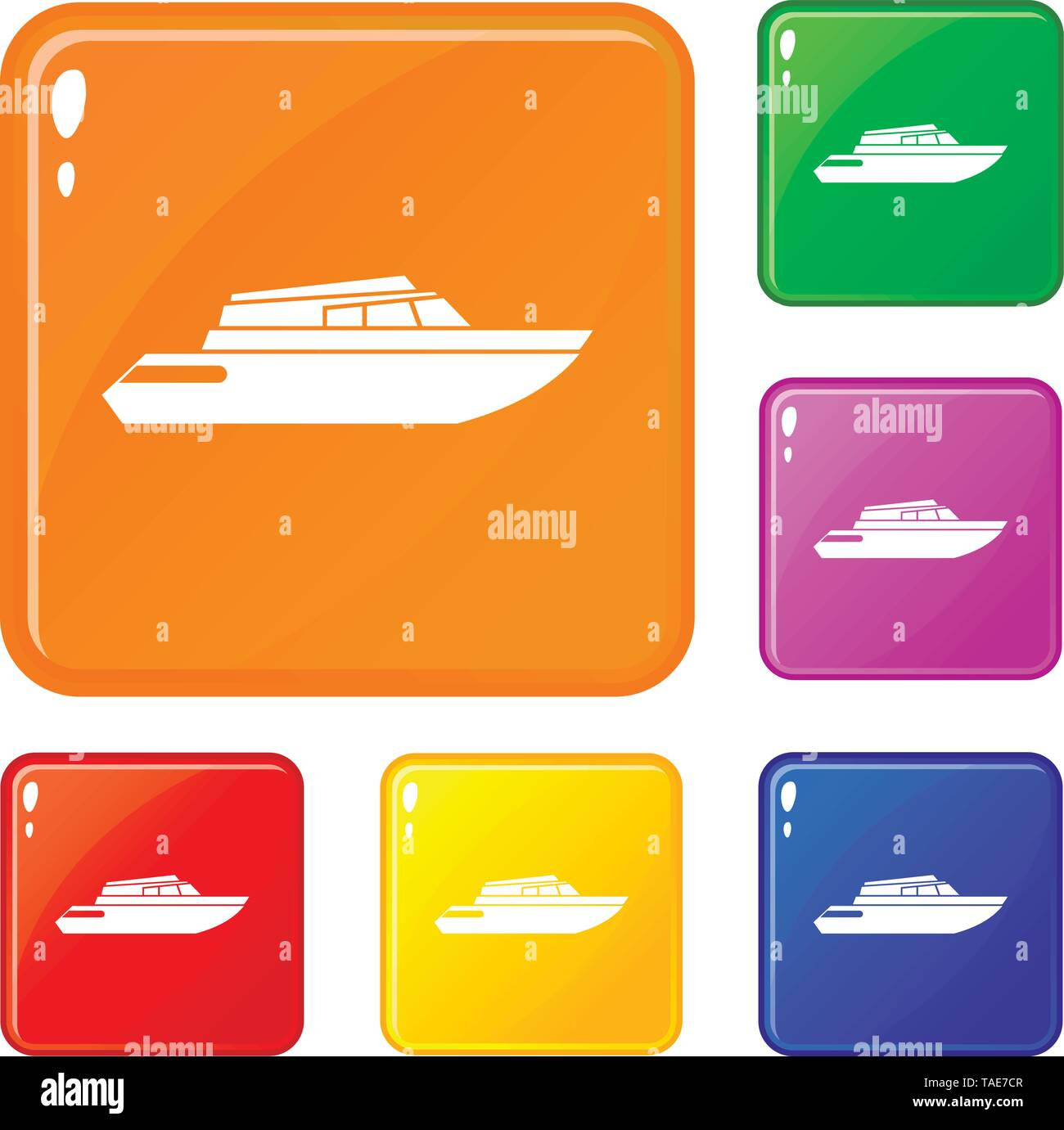 Planing powerboat icons set vector color - Stock Image