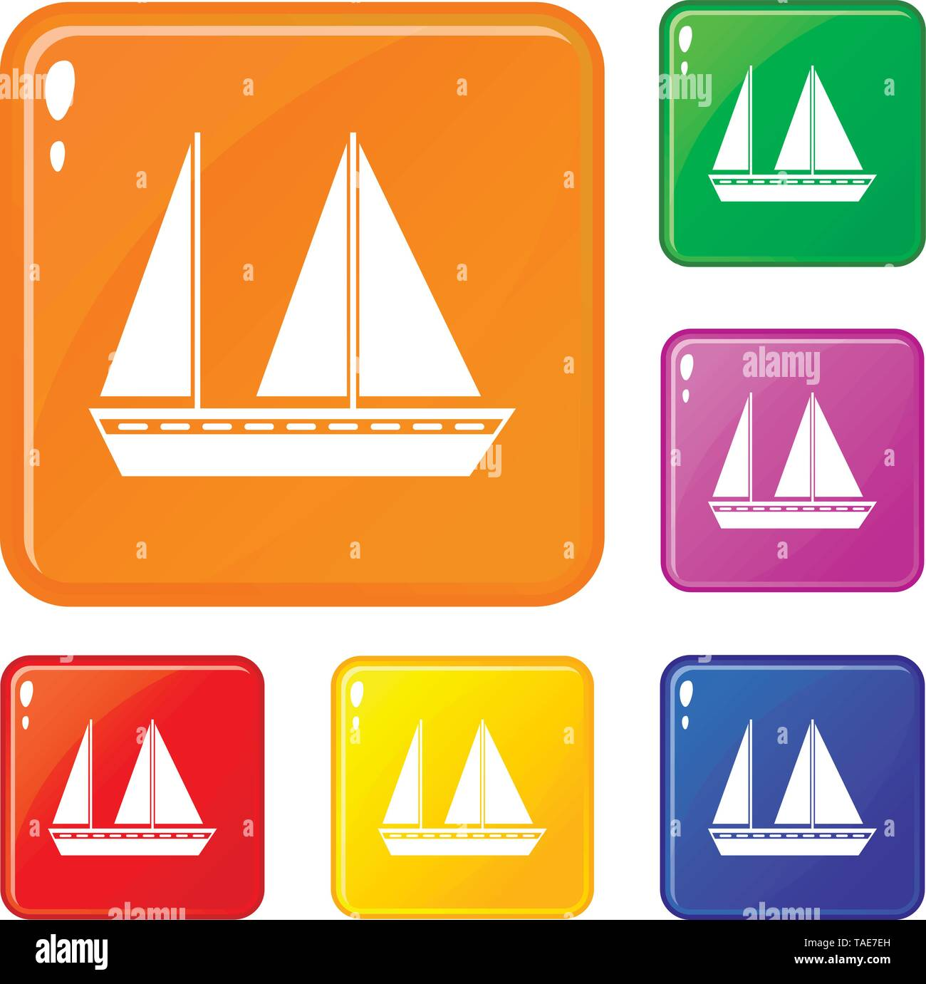 Sailing boat icons set vector color - Stock Image