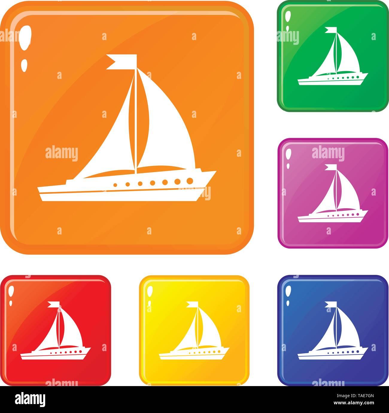 Sailing ship icons set vector color - Stock Image