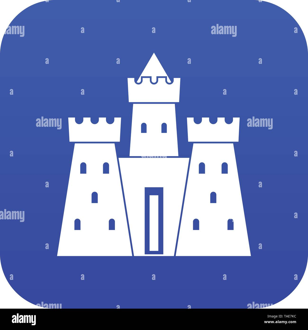 Ancient castle palace icon digital blue - Stock Image