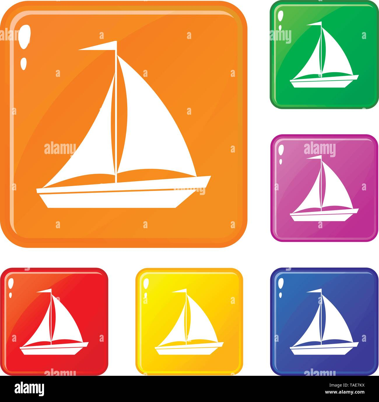 Boat with sails icons set vector color - Stock Image