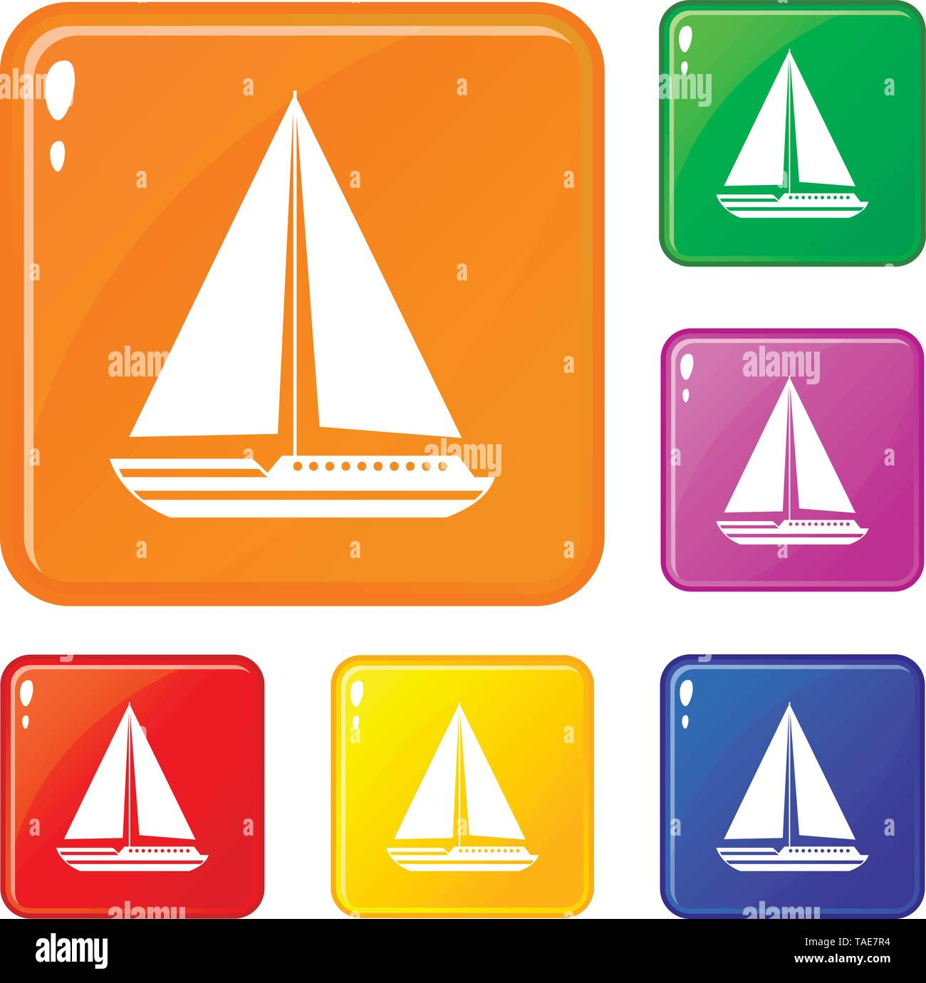 Sea yacht icons set vector color - Stock Image