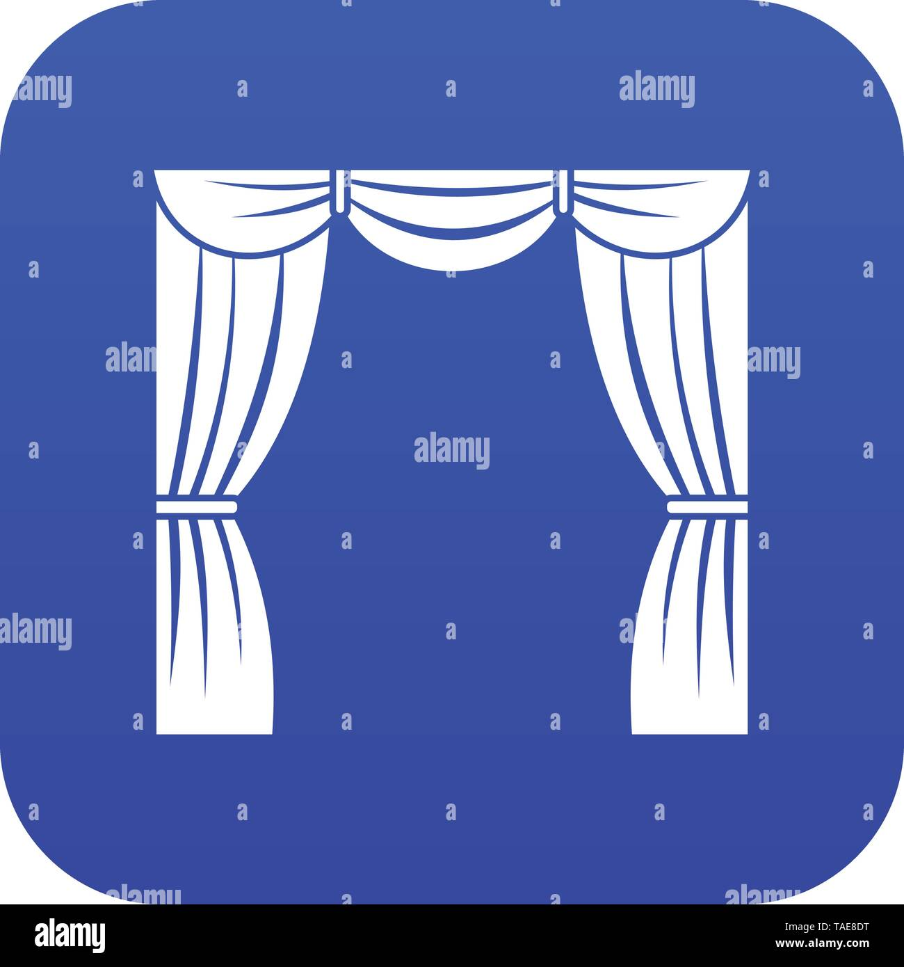 Curtain on stage icon digital blue Stock Vector