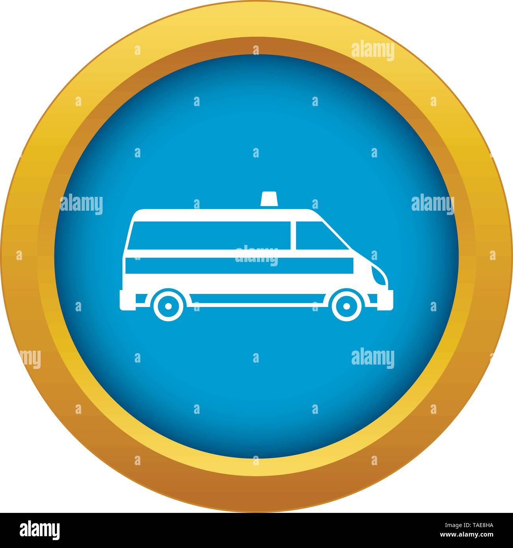 Ambulance car icon blue vector isolated - Stock Image