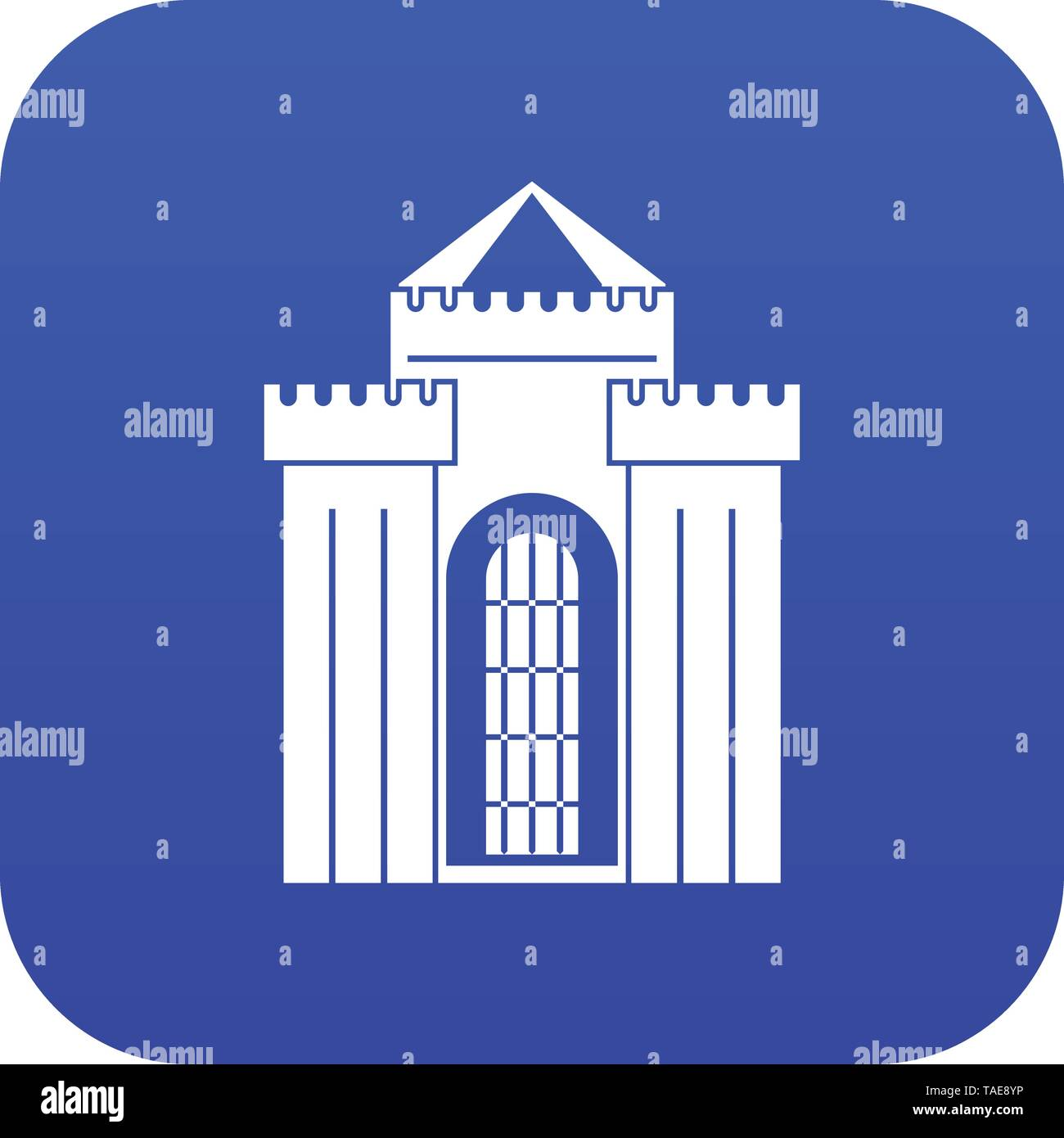 Medieval palace icon digital blue - Stock Image