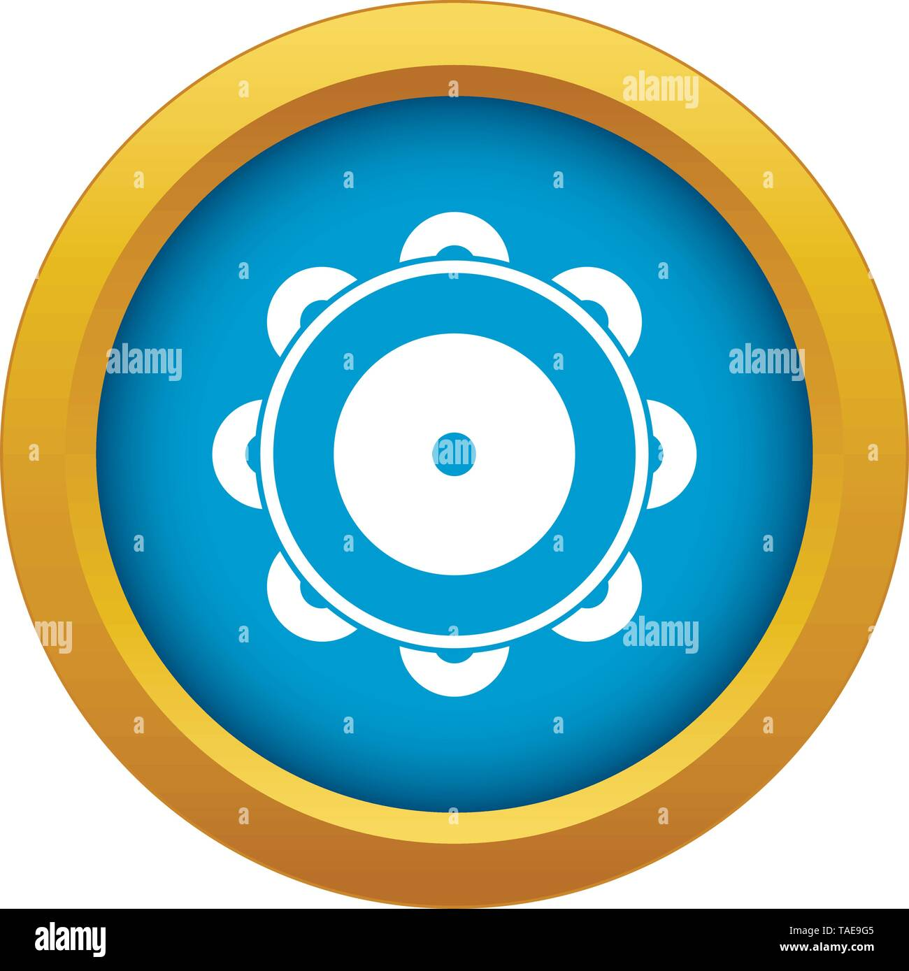 Tambourine icon blue vector isolated - Stock Image