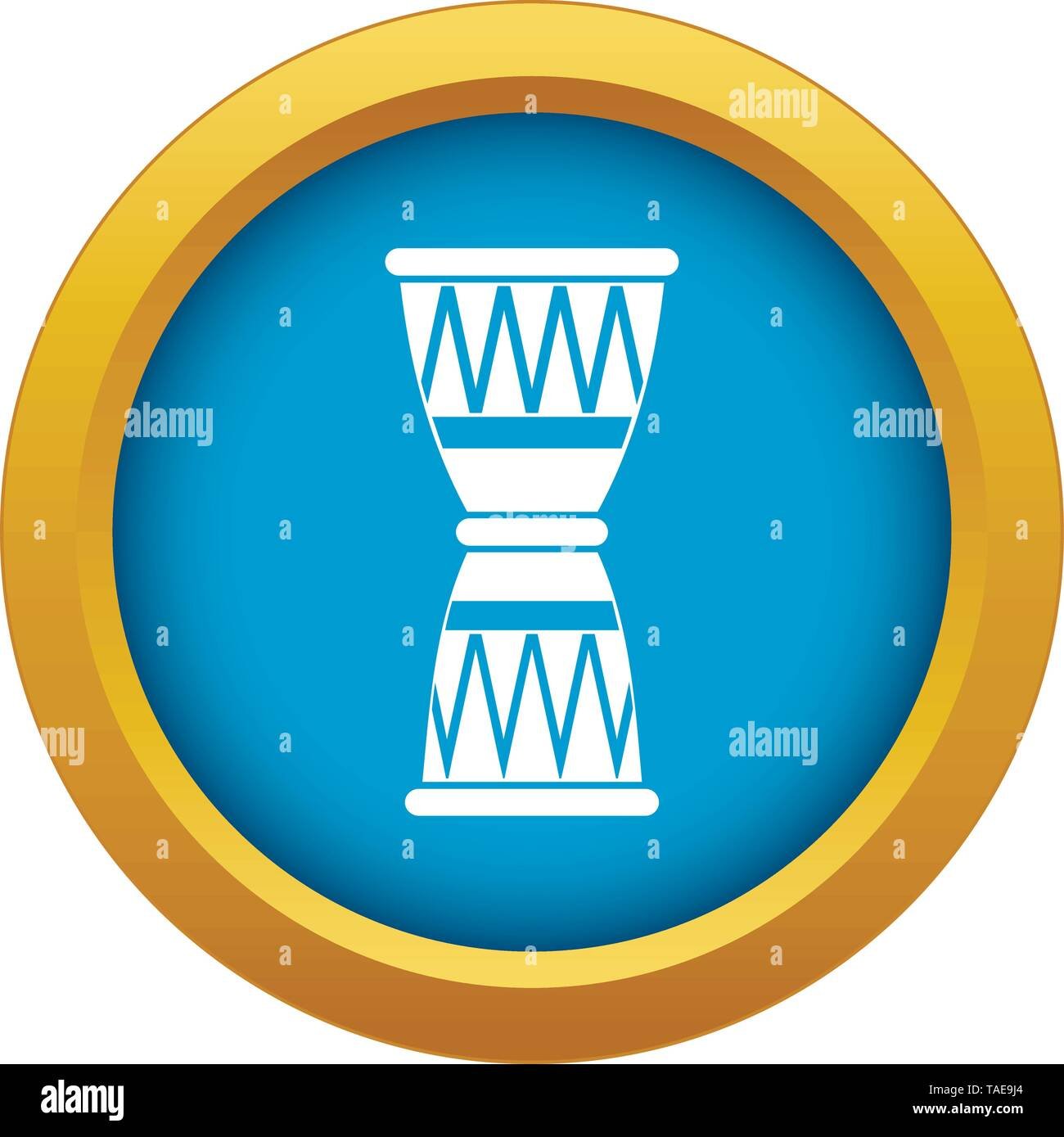 African drum icon blue vector isolated - Stock Image
