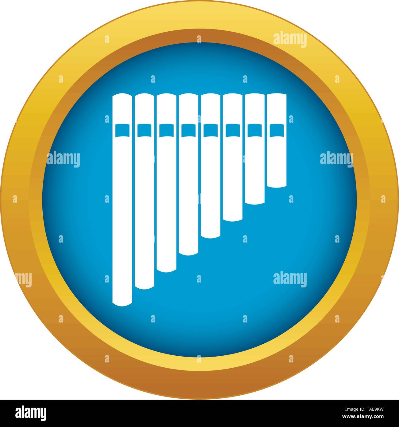 Pan flute icon blue vector isolated - Stock Image