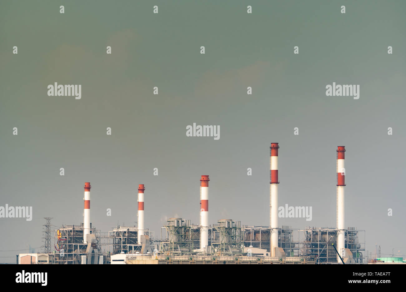 CHACHOENGSAO, THAILAND-JANUARY 10, 2019 : Bang Pakong Power Plant. Thermal Power Plant and Combined Cycle Power Plant in Thailand. Power plant using - Stock Image